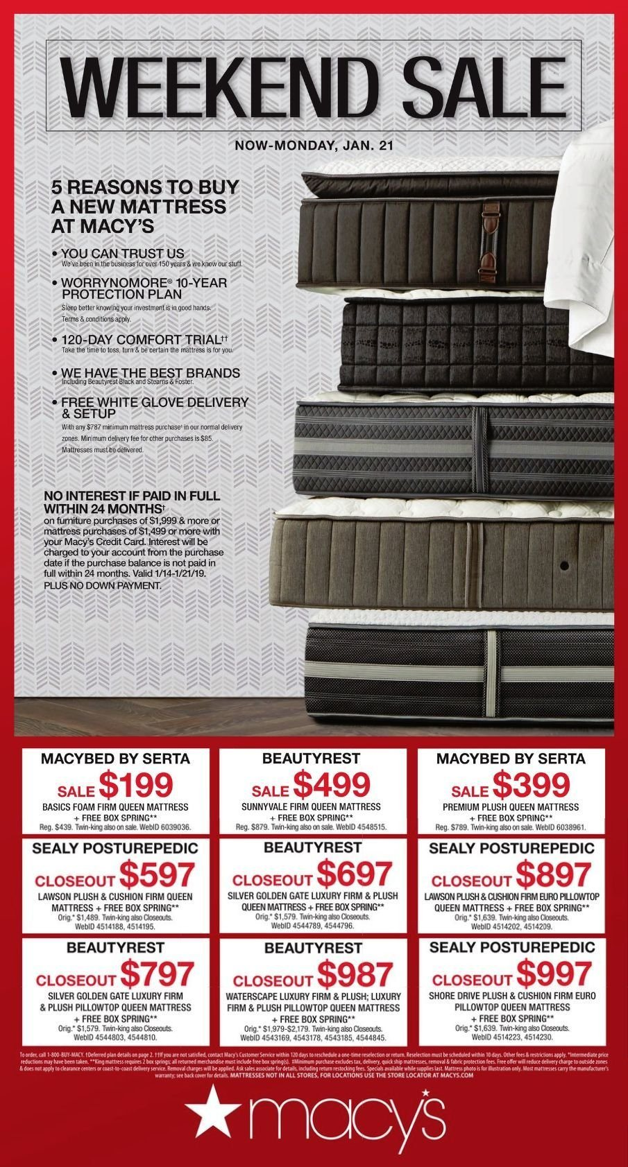 Macy's Flyer - 01.18.2019 - 01.21.2019 - Sales products - box, cushion, foam, furniture, glove, mattress, quick. Page 1.