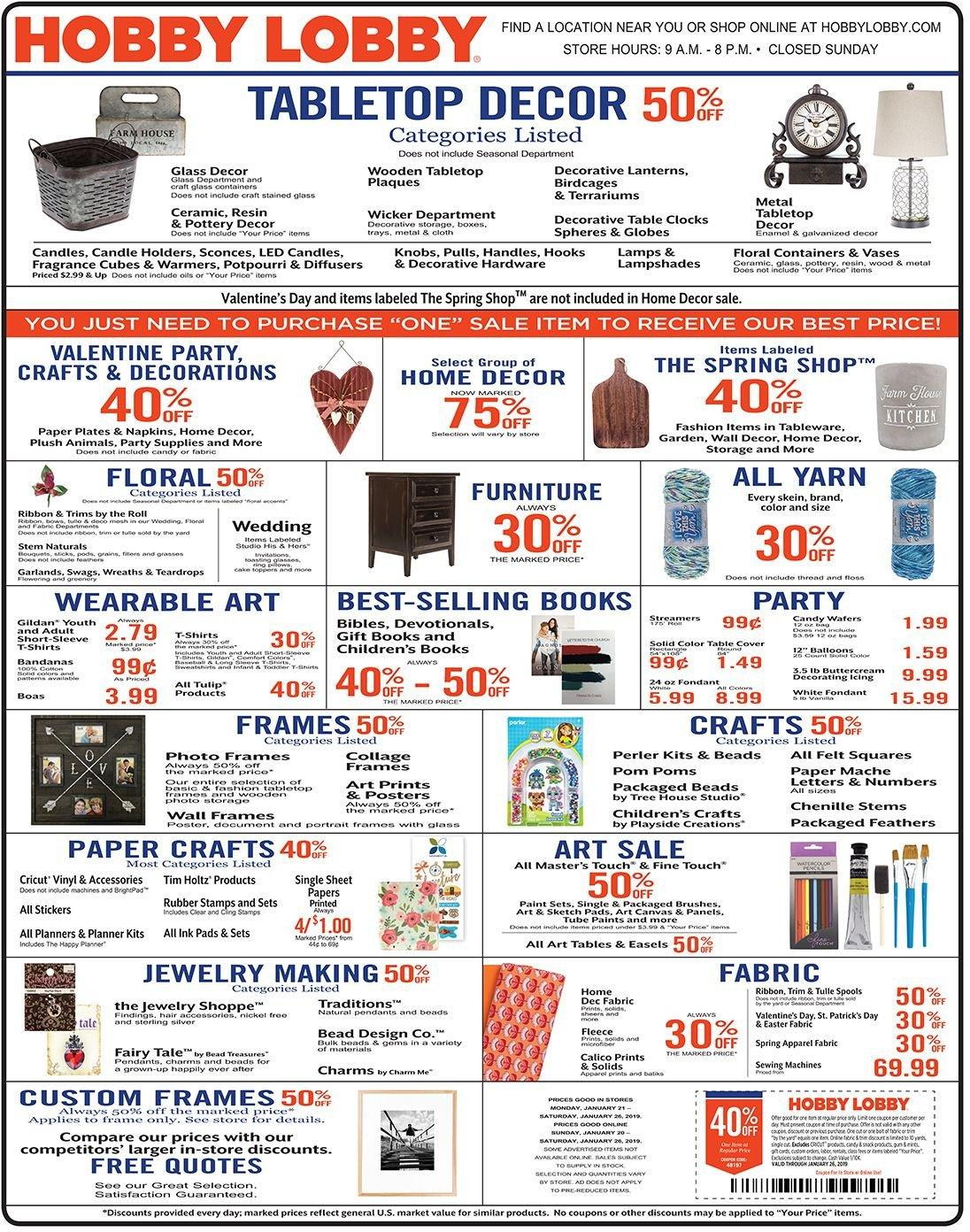 Hobby Lobby Flyer  - 01.20.2019 - 01.26.2019. Page 1.