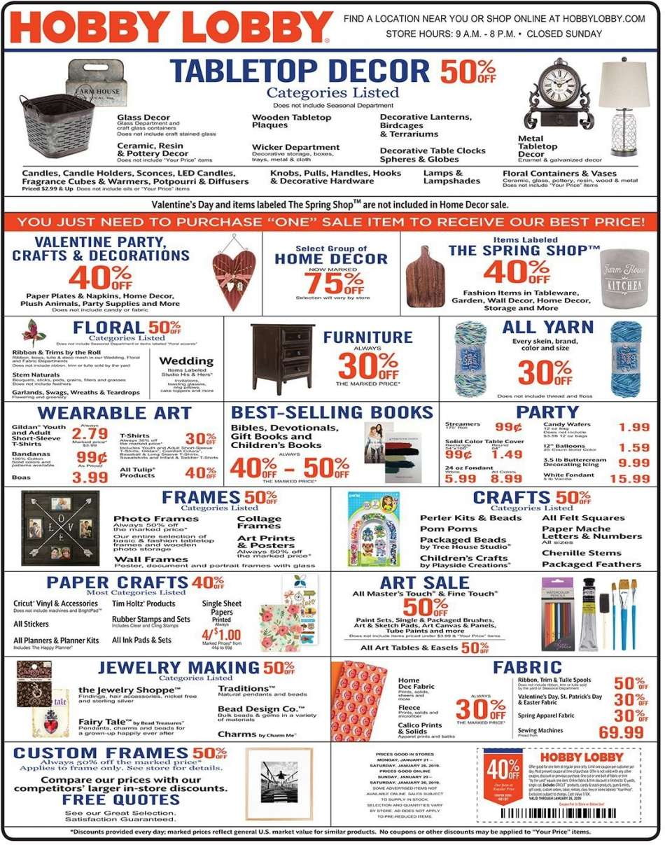 Hobby lobby flyer 01 20 2019 01 26 2019 sales products always