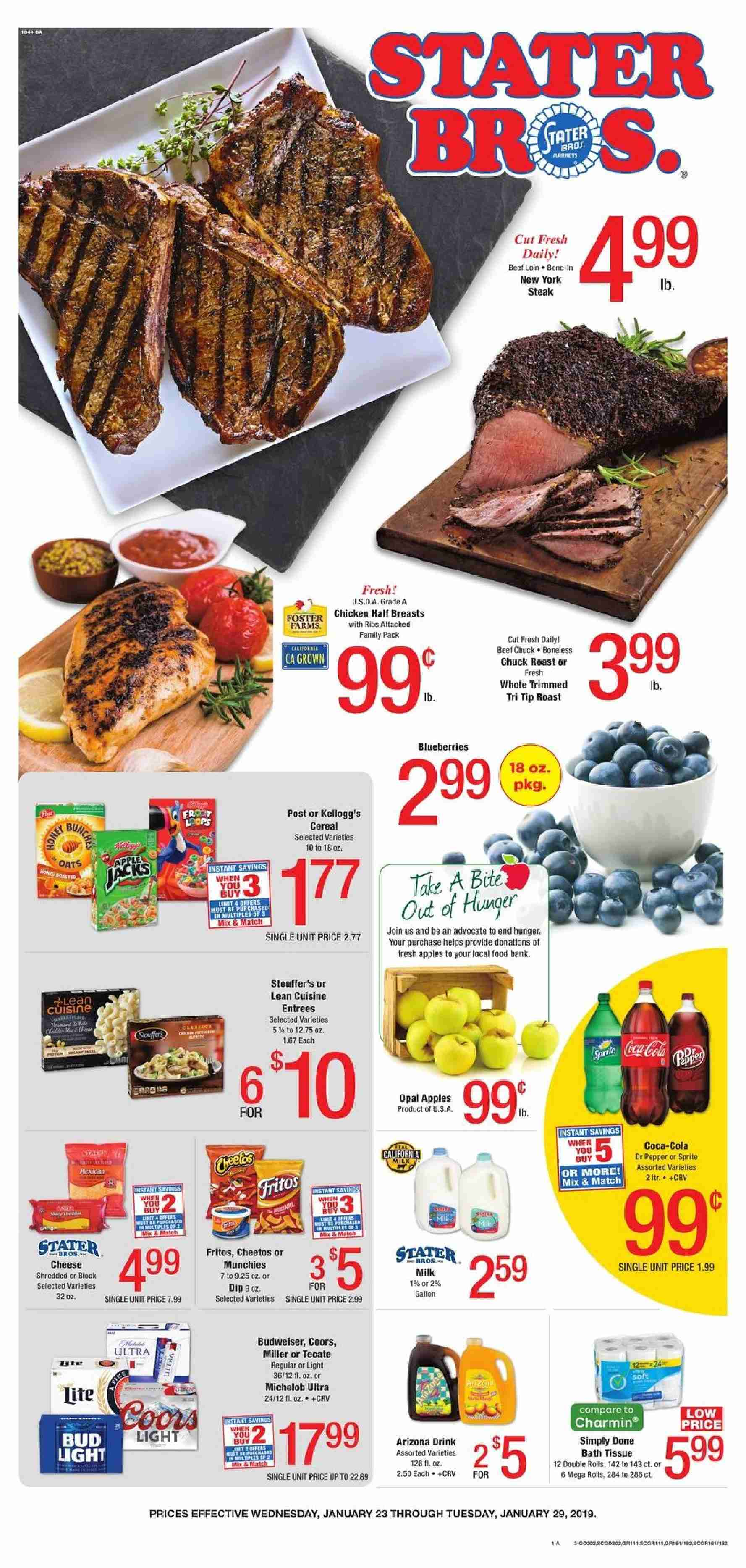 Stater Bros. Flyer  - 01.23.2019 - 01.29.2019. Page 1.