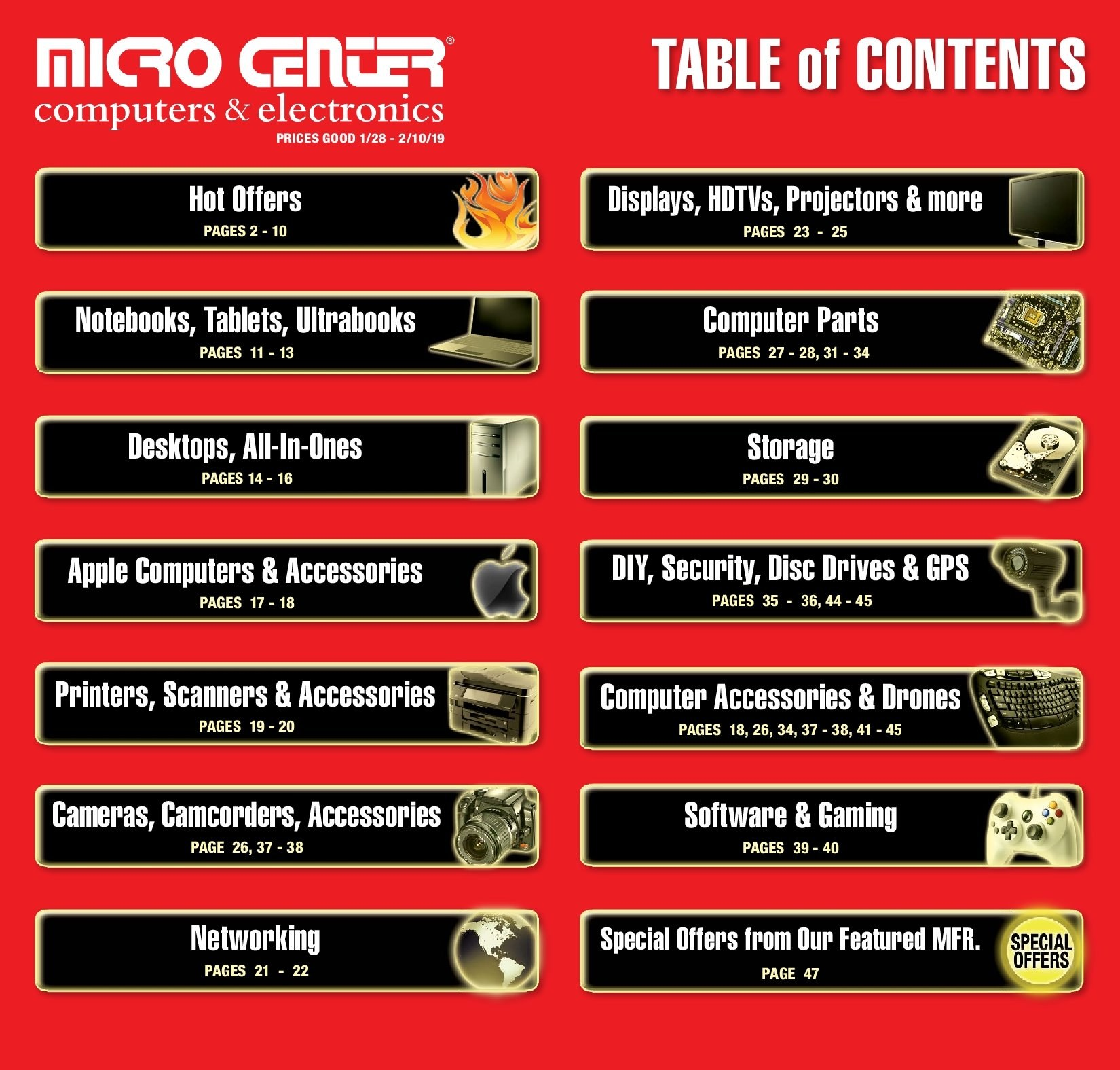 Micro Center Flyer  - 01.28.2019 - 02.10.2019. Page 1.