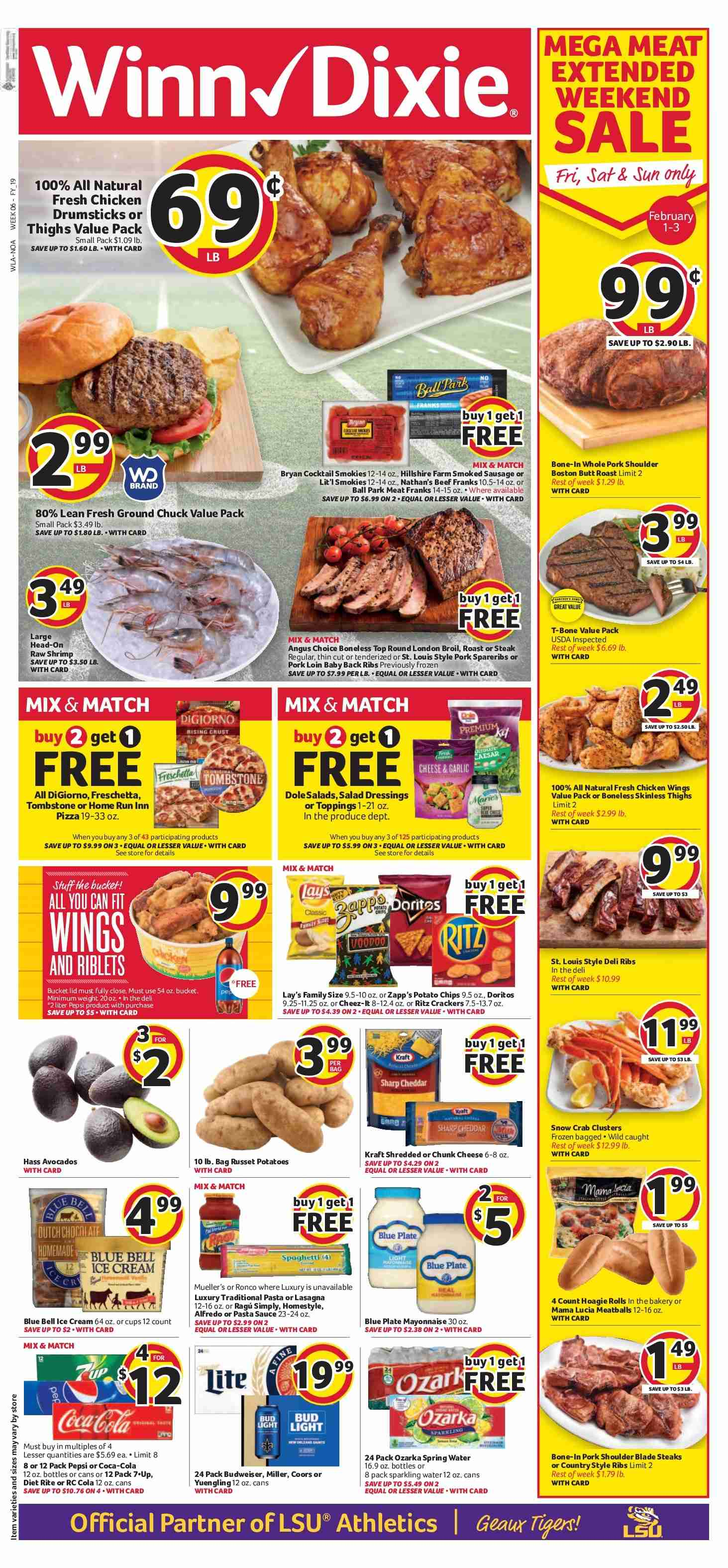 Winn Dixie Flyer - 01.30.2019 - 02.05.2019 - Sales products - Budweiser, Bud Light, Coors, garlic, russet potatoes, potatoes, rolls, chicken, beef meat, ground chuck, pork loin, pork meat, pork shoulder, crab, pizza, meatballs, Hillshire Farm, sausage, smoked sausage, cheese, mayonnaise, sauce, ice cream, crackers, alfredo sauce, pasta sauce, Coca-Cola, Pepsi, spring water, sparkling water, water, ribs. Page 1.