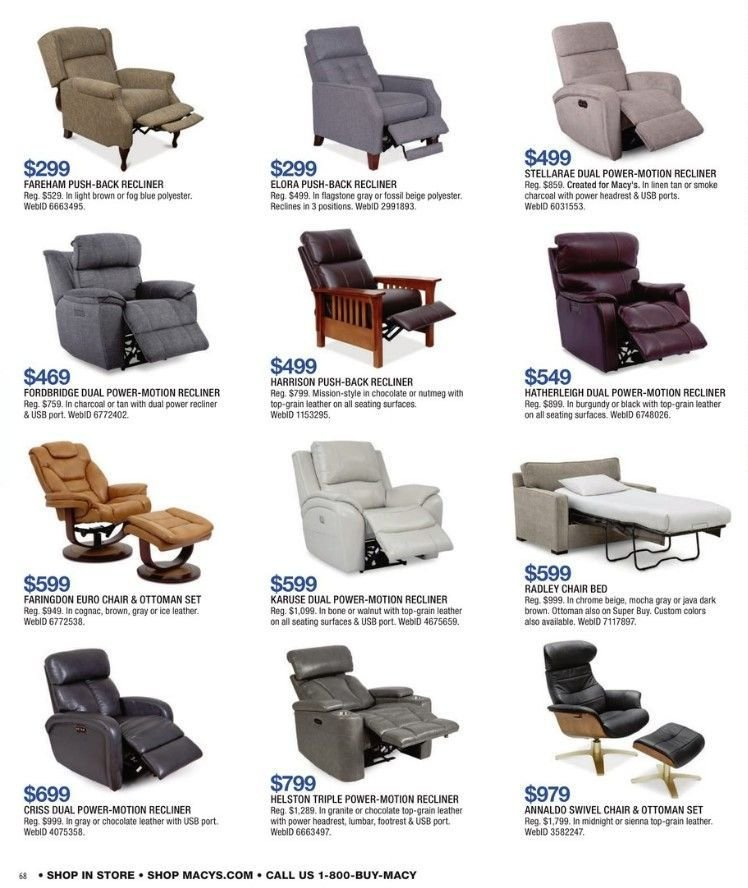 Macy's Flyer - 01.30.2019 - 02.18.2019 - Sales products - bed, cognac, recliner, swivel chair, chair, charcoal, ottoman, chocolate, nutmeg. Page 70.