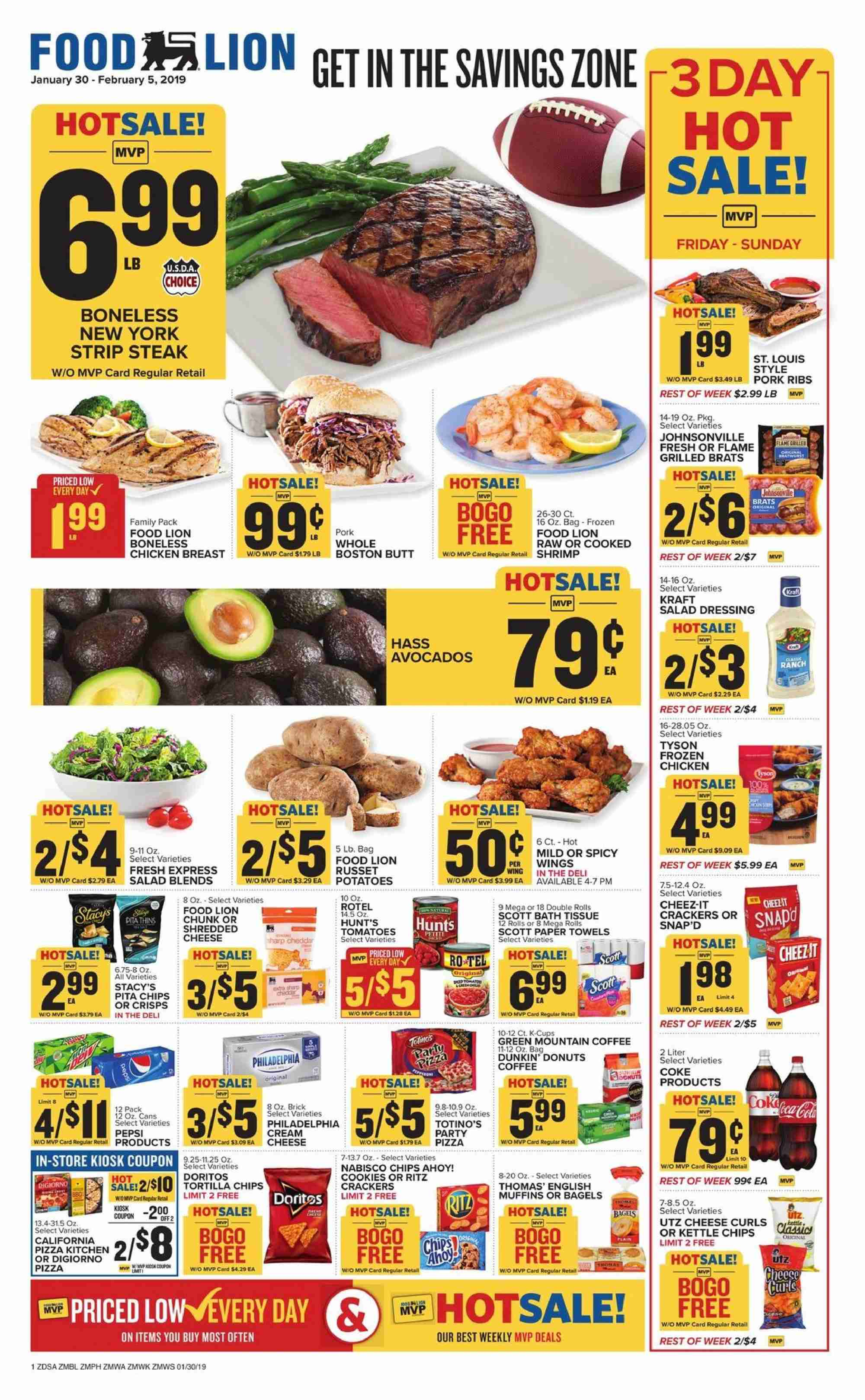 Food Lion Flyer - 01.30.2019 - 02.05.2019 - Sales products - tomatoes, potatoes, avocado, bagels, donut, muffin, shrimps, english muffins, pizza, salad, shredded cheese, Philadelphia, cheese, cookies, crackers, chips, dressing, salad dressing, coffee, chicken, steak, bath tissue, Frozen, cream. Page 1.