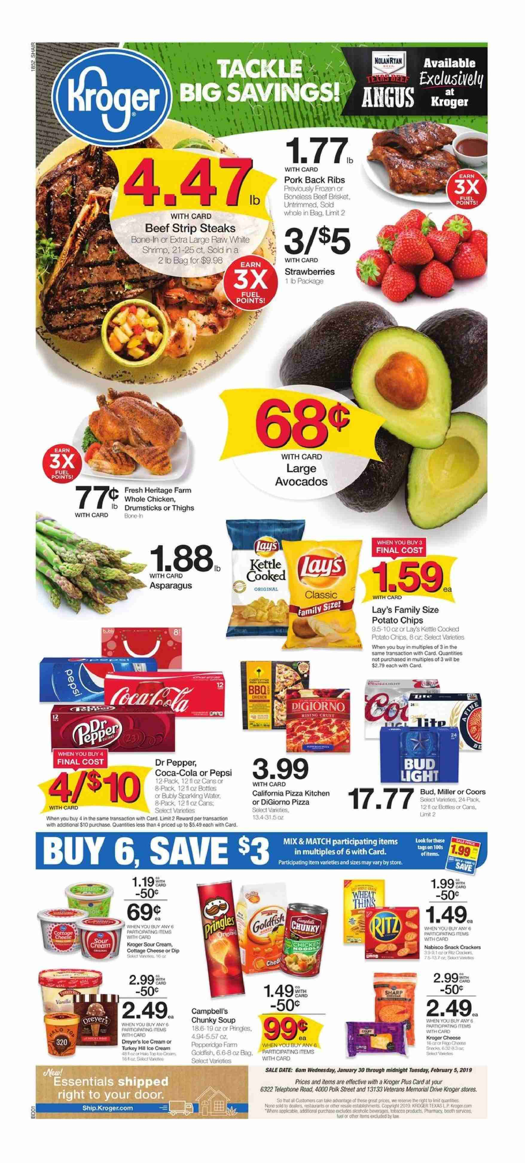 Kroger Flyer - 01.30.2019 - 02.05.2019 - Sales products - avocado, beef meat, campbell's, coca-cola, cottage cheese, crackers, door, frozen, fuel, shrimp, sour cream, turkey, whole chicken, ice cream, pizza, polk, pork meat, potato chips, chicken, pepsi, chips, cheese, soup, pepper, bud light, lay's, ribs. Page 1.