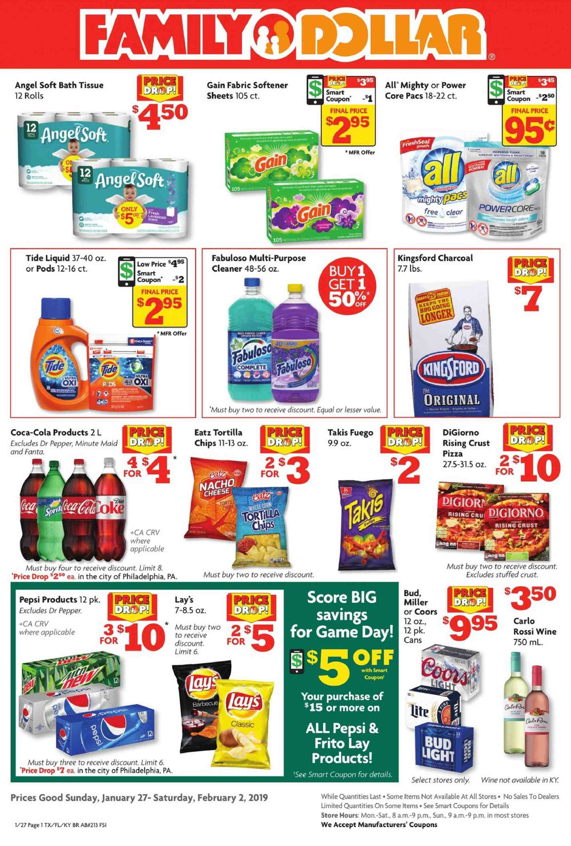 Family Dollar Flyer - 01.27.2019 - 02.02.2019 - Sales products - angel, bath tissue, coca-cola, corn, tide, philadelphia, pizza, charcoal, pepsi, chips, cheese, game, pepper, softener, wine. Page 1.