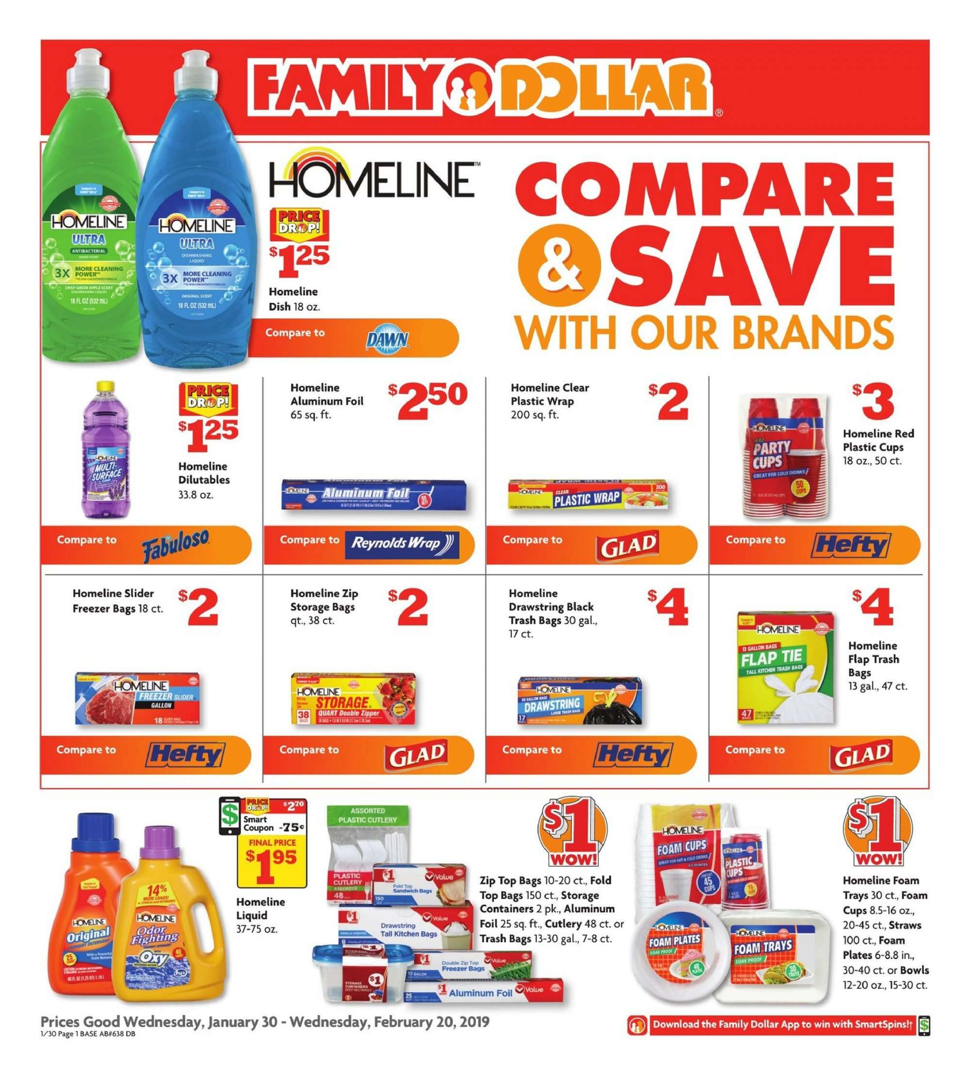 Family Dollar Flyer - 01.30.2019 - 02.20.2019 - Sales products - bag, bowl, foam, freezer, freezer bag, storage, tie, trash bag, wrap, kitchen, plate, sandwich. Page 1.