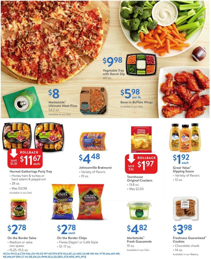 Walmart Flyer - 02.01.2019 - 02.14.2019 - Sales products - bratwurst, cookies, crackers, salami, tray, turkey, ham, honey, pizza, pepperoni, chips, chocolate, vegetable, salsa, sauce. Page 4.