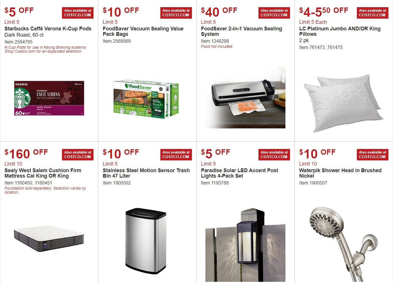 Costco Flyer - 02.06.2019 - 03.03.2019 - Sales products - bag, bin, cup, cushion, foundation, mattress, showerhead, starbucks, vacuum, head, pillow, solar led. Page 3.