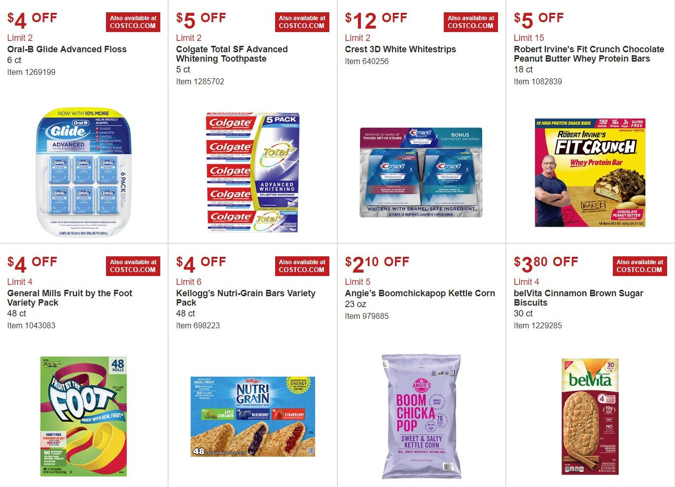 Costco Flyer - 02.06.2019 - 03.03.2019 - Sales products - biscuits, brown sugar, butter, corn, crest, colgate, safe, sugar, kettle corn, protein, peanut butter, oral-b, chocolate, toothpaste, snack. Page 8.