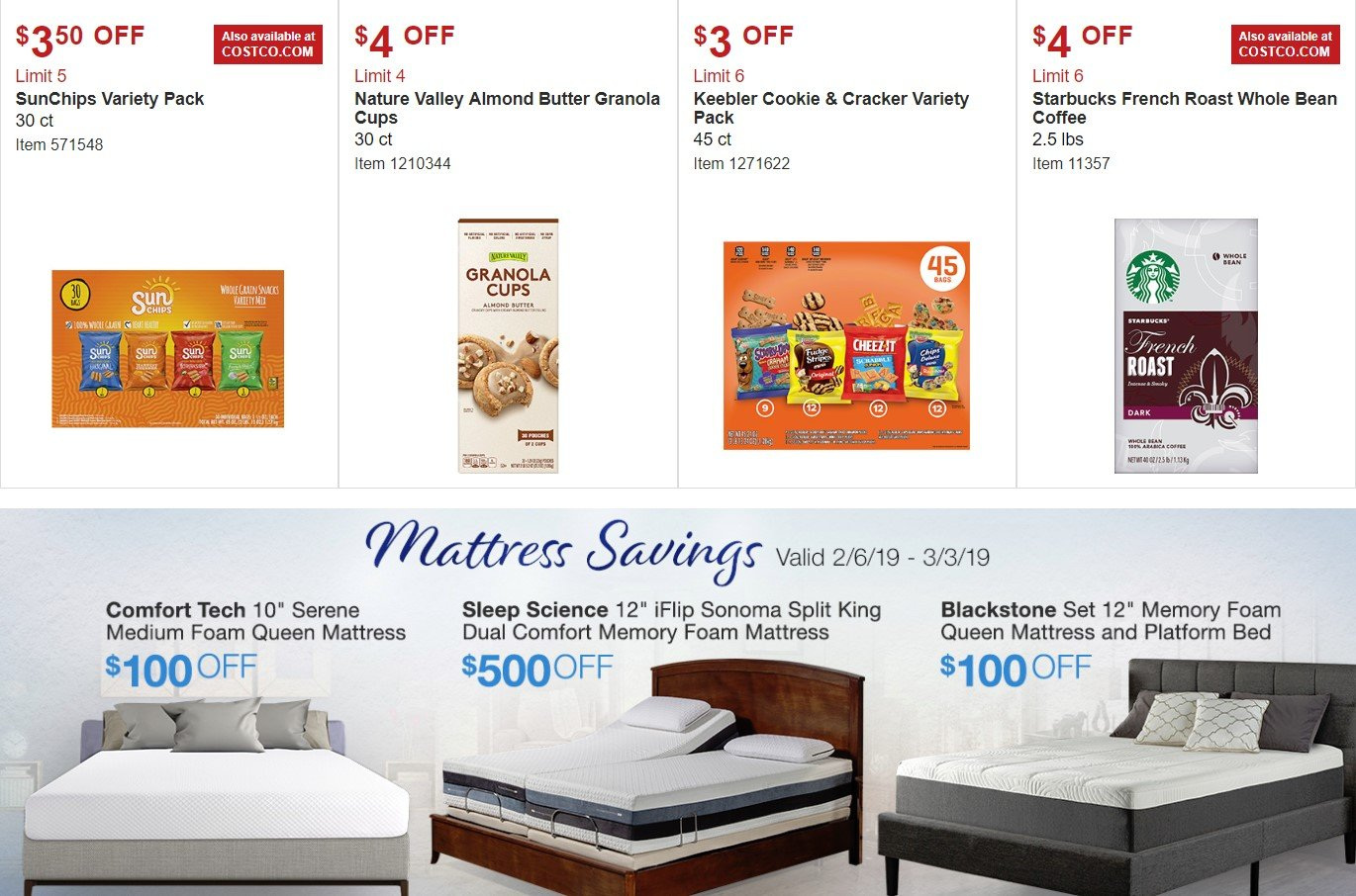 Costco Flyer - 02.06.2019 - 03.03.2019 - Sales products - bed, butter, coffee, foam, granola, mattress, memory foam, sonoma, starbucks, cracker. Page 9.