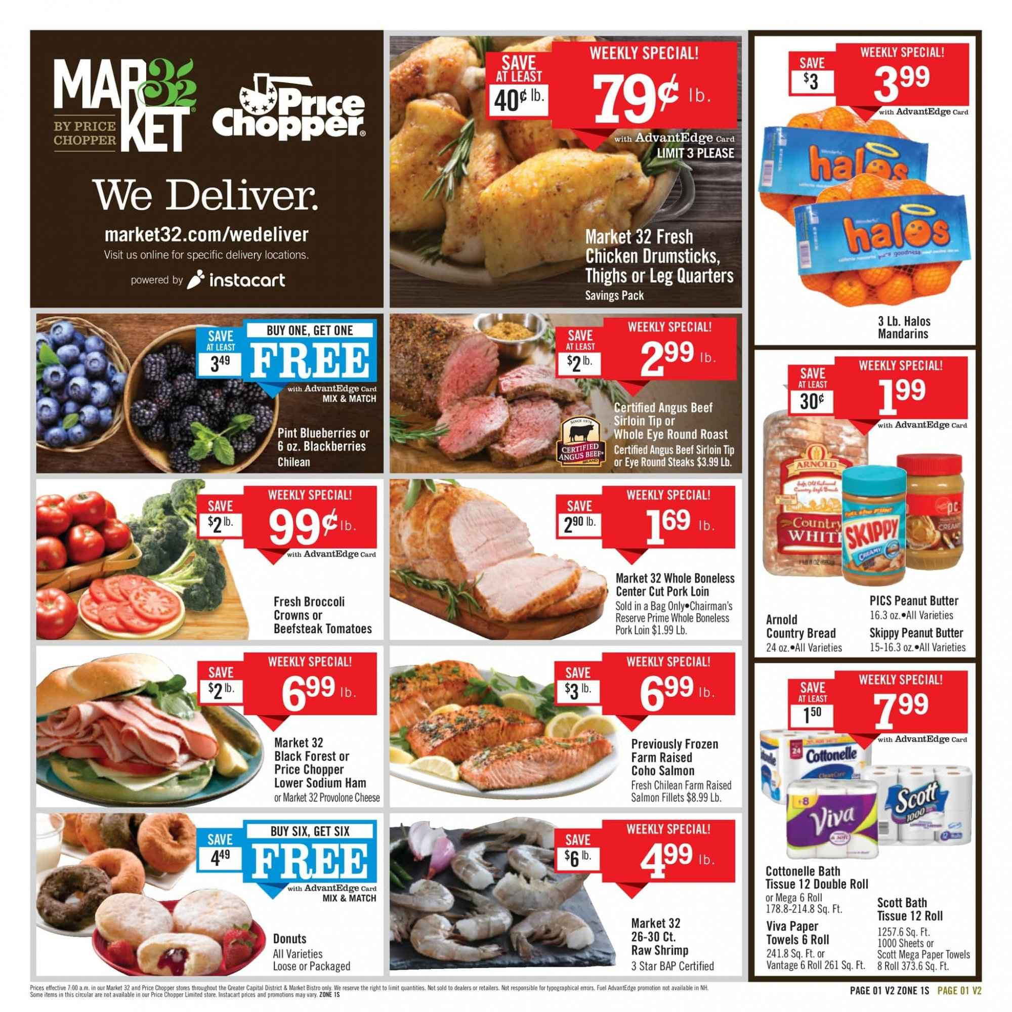 Price Chopper Flyer - 02.03.2019 - 02.09.2019 - Sales products - blackberries, blueberries, bread, donut, salmon, salmon fillet, shrimps, ham, cheese, Provolone, peanut butter, chicken, chicken drumsticks, chicken meat, beef meat, beef sirloin, steak, round roast, pork loin, pork meat, bath tissue, Cottonelle, kitchen towels, paper towels. Page 1.