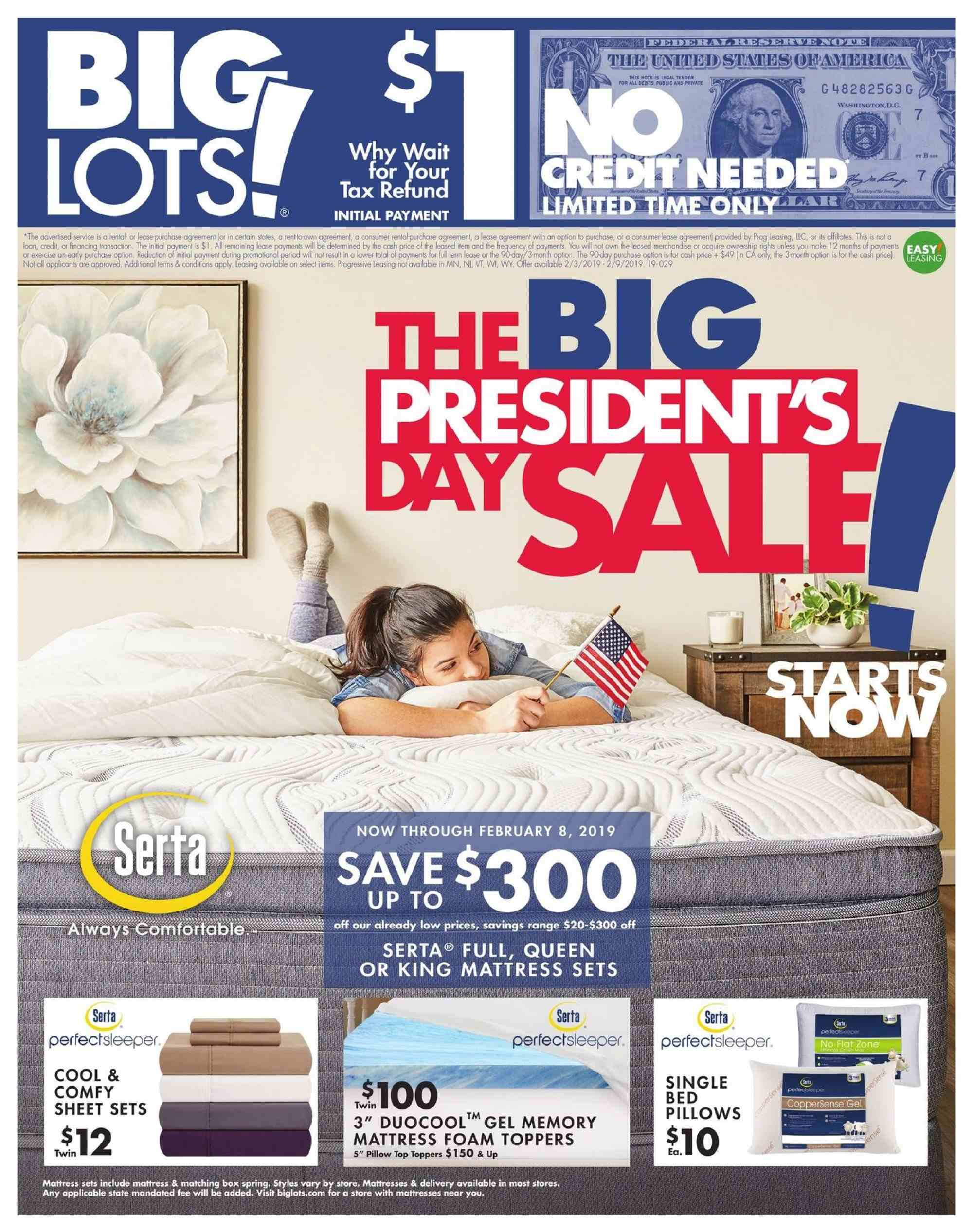 Big Lots Flyer - 02.03.2019 - 02.09.2019 - Sales products - bed, bic, box, foam, mattress, sheet, pillow. Page 1.