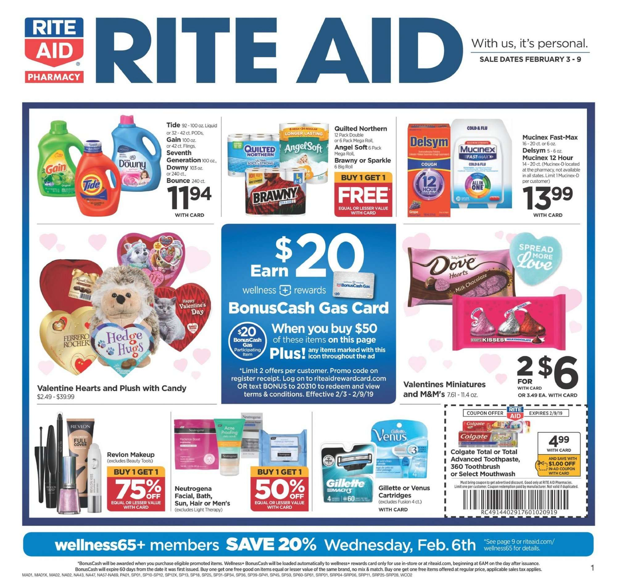 RITE AID Flyer - 02.04.2019 - 02.04.2019 - Sales products - milk chocolate, chocolate, M&M's, Quilted Northern, Gain, Downy, Tide, Colgate, toothbrush, toothpaste, mouthwash, Neutrogena, Revlon, Gillette, Venus, tools, makeup, Delsym, Cold & Flu, Mucinex. Page 1.