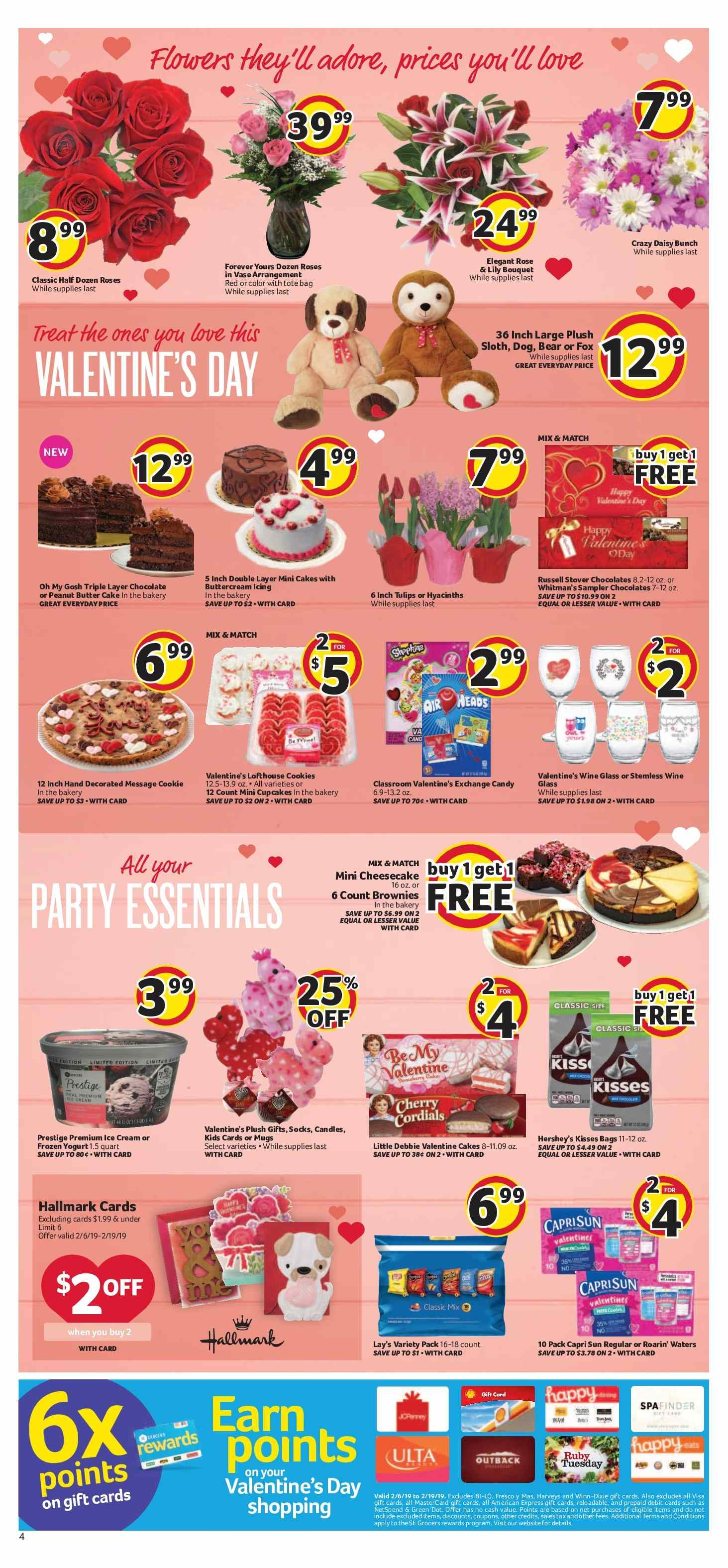Winn Dixie Flyer - 02.06.2019 - 02.12.2019 - Sales products - bag, butter, candle, capri sun, cookies, cupcakes, forever, frozen, socks, wine glass, yogurt, ice cream, peanut butter, chocolate, cheesecake, cake, candy, roses, tote, lay's, wine, valentine. Page 4.