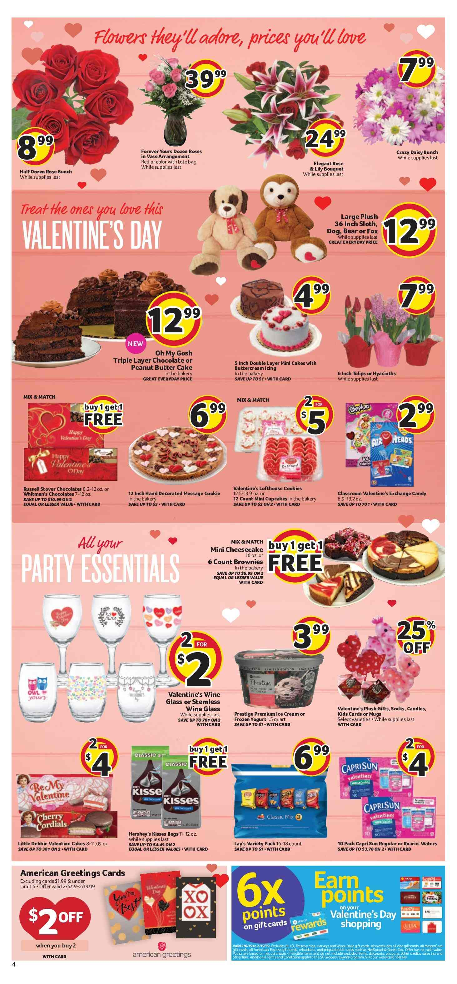 BI-LO Flyer - 02.06.2019 - 02.12.2019 - Sales products - bag, butter, candle, capri sun, cookies, forever, frozen, socks, wine glass, ice cream, peanut butter, chocolate, cheesecake, cake, candy, roses, tote, lay's, air heads, wine, valentine. Page 4.