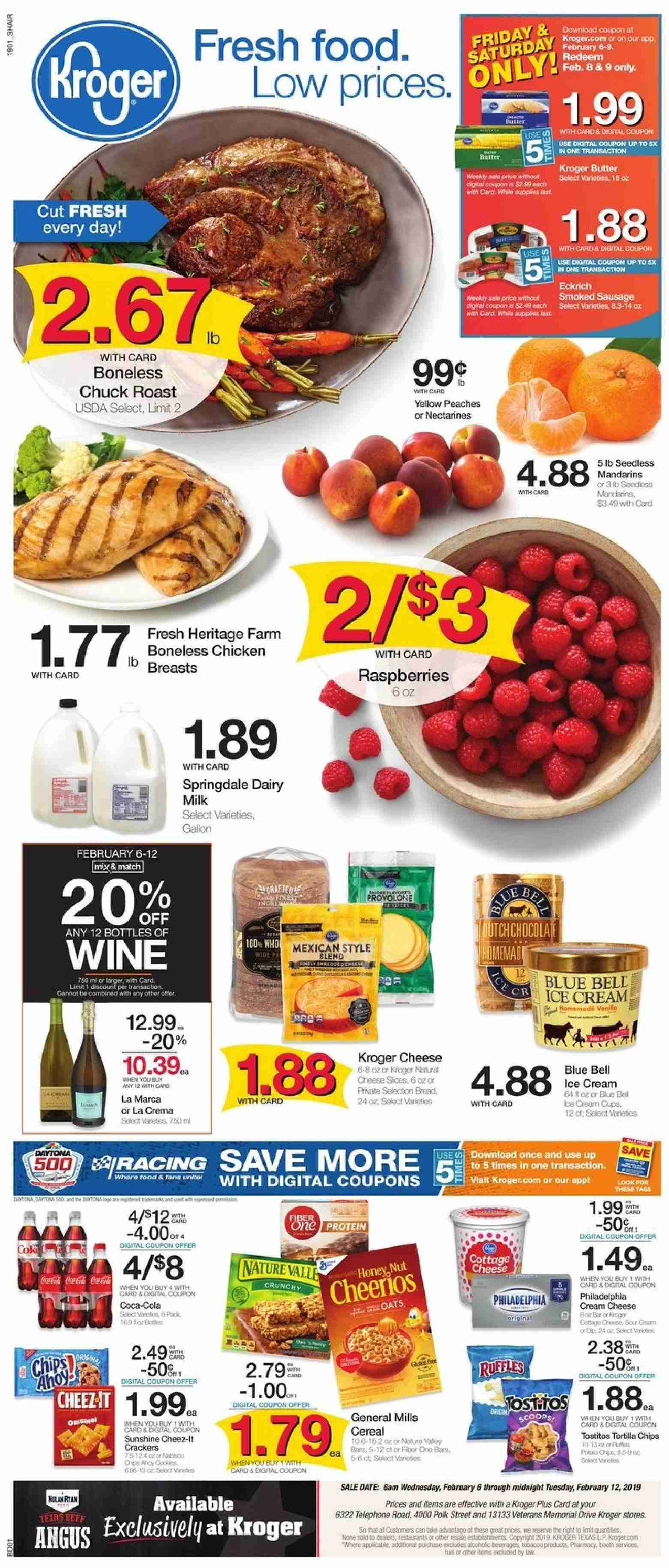 Kroger Flyer - 02.06.2019 - 02.12.2019 - Sales products - bread, cereals, cream cheese, raspberries, sausage, smoked sausage, tortilla chips, hat, ice cream, polk, provolone, chicken, peaches, oats, chips, cheese, cereal, wine. Page 1.