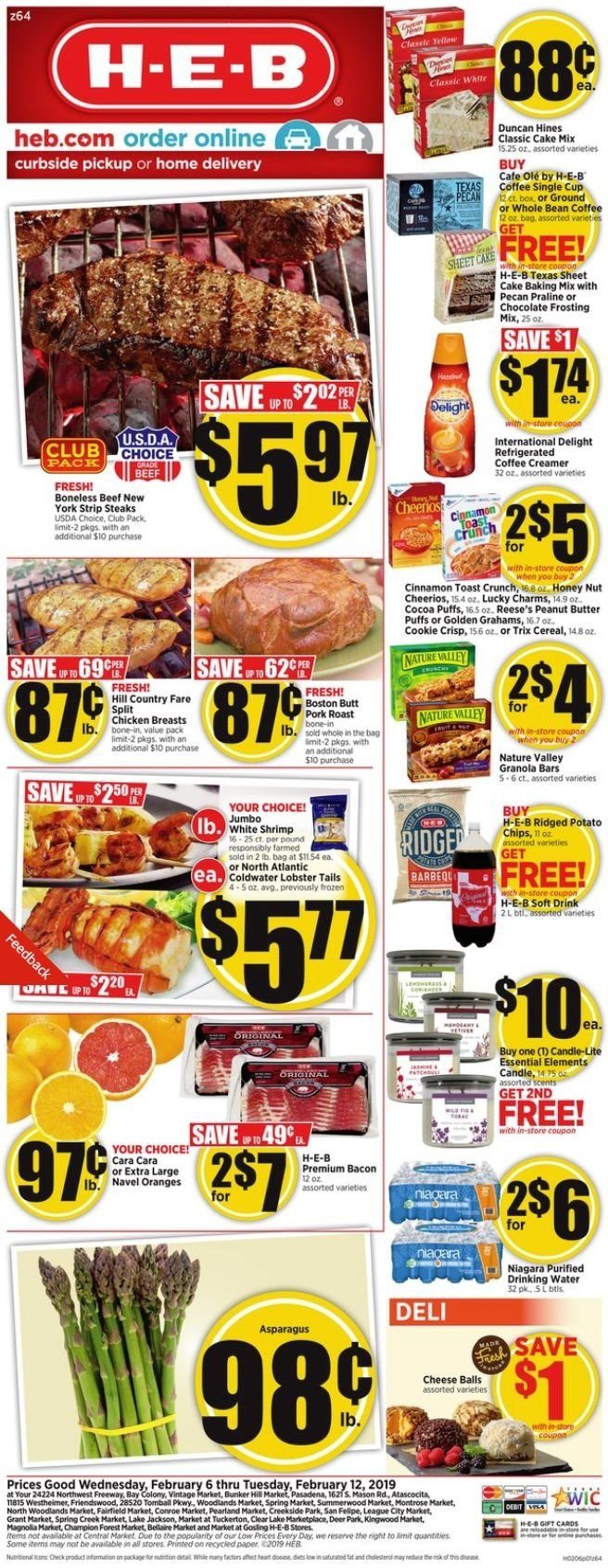 H-E-B Flyer  - 02.06.2019 - 02.12.2019. Page 1.