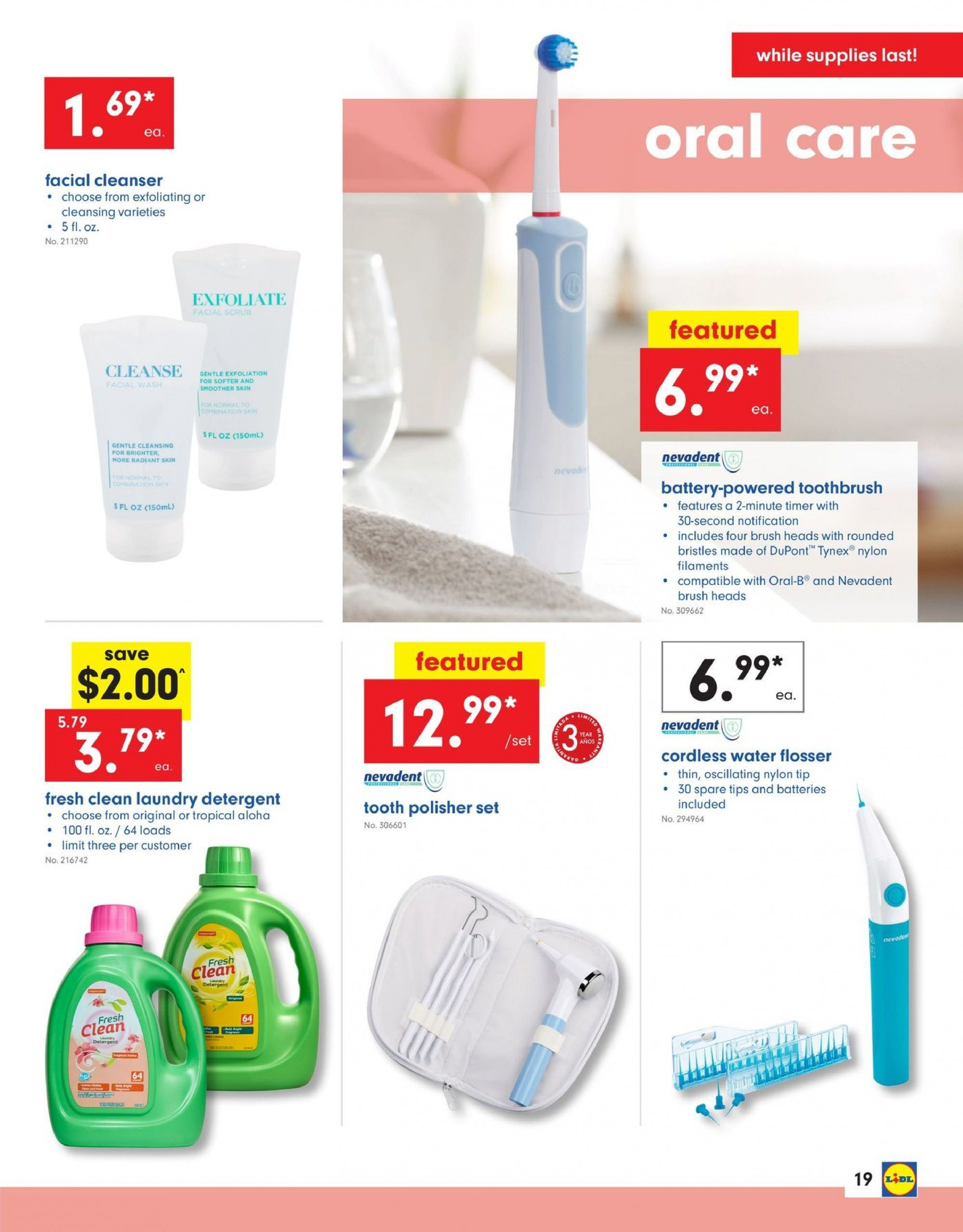 Lidl Flyer - 02.06.2019 - 02.12.2019 - Sales products - brush, cleanser, detergent, timer, toothbrush, oral-b, water. Page 19.