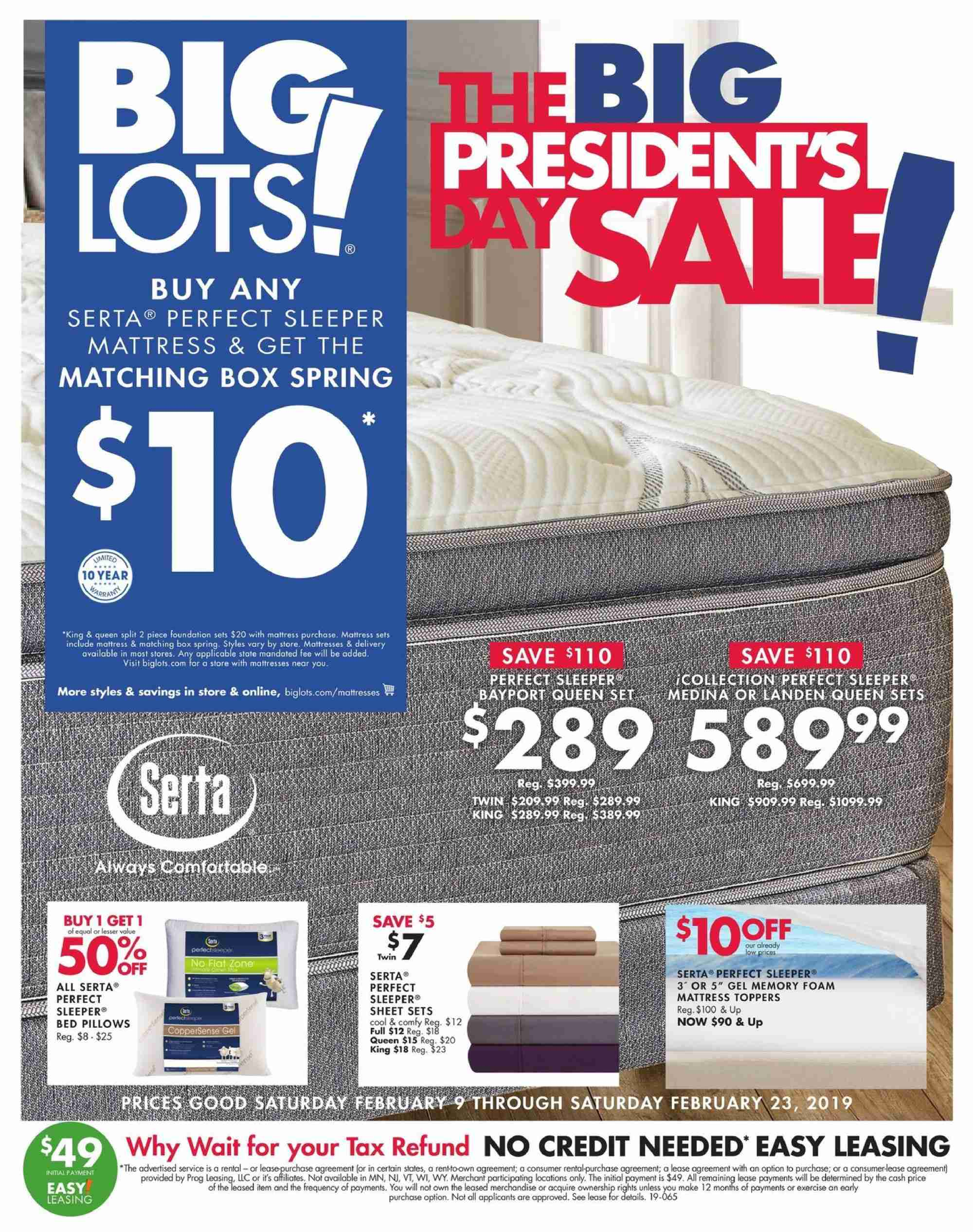 Big Lots Flyer - 02.09.2019 - 02.23.2019 - Sales products - bed, box, foam, foundation, mattress, memory foam, sheet, pillow. Page 1.