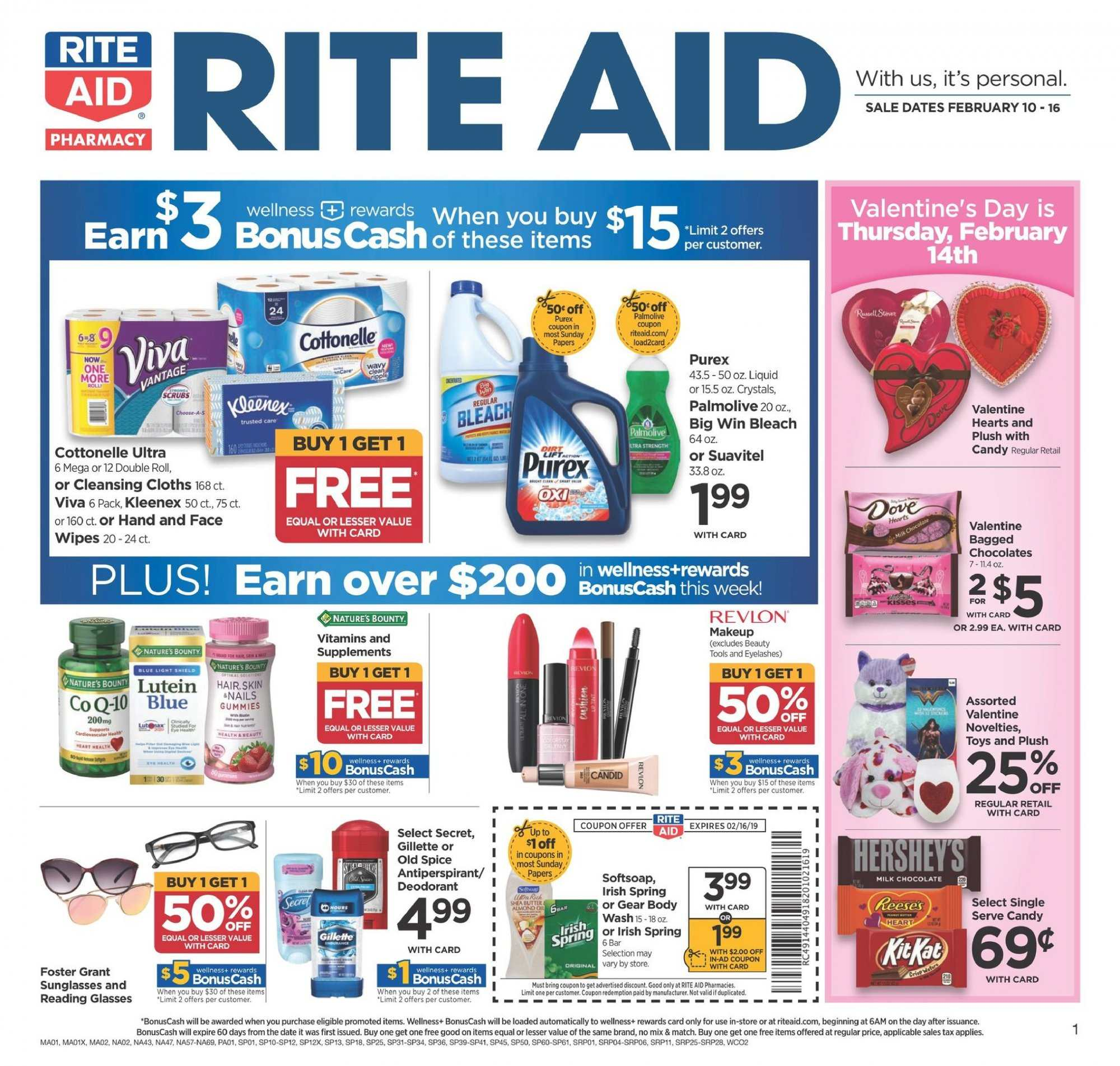 RITE AID Flyer - 02.10.2019 - 02.16.2019 - Sales products - candy, Bounty, Cottonelle, Kleenex, wipes, bleach, Softsoap, Old Spice, anti-perspirant, secret, Gillette, tools, makeup, eyelashes, glass, sunglasses, toys, Nature's Bounty. Page 1.