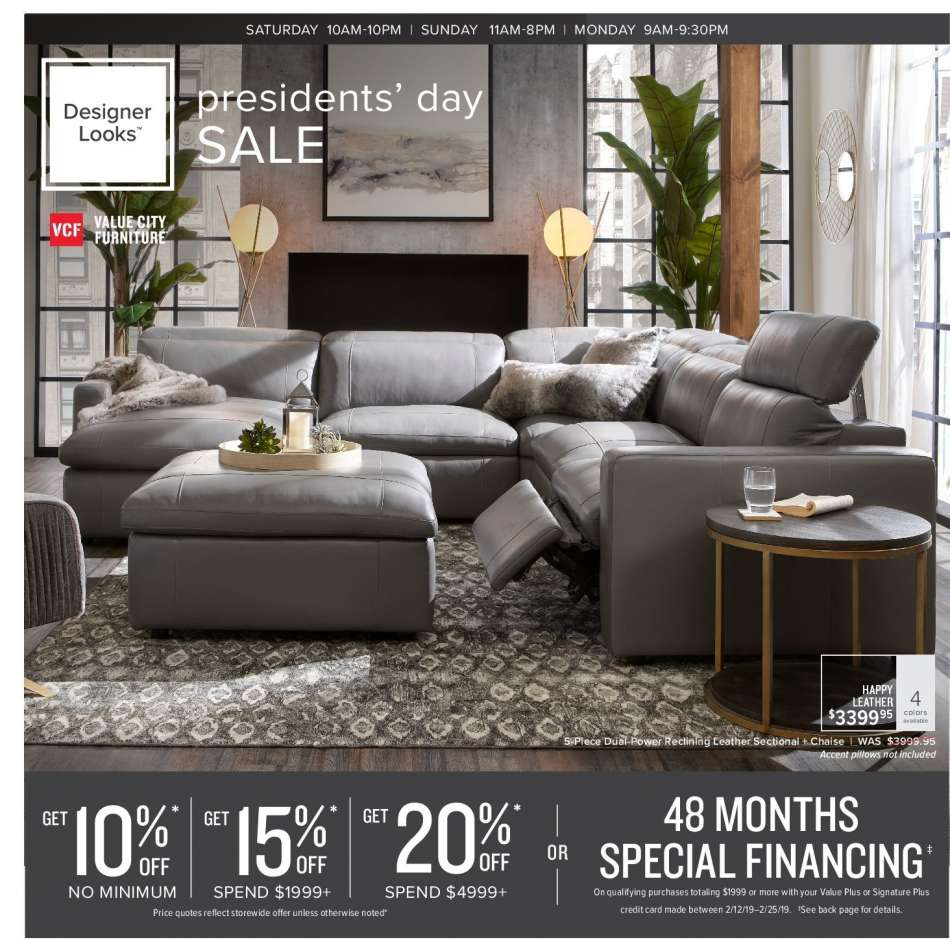 Phenomenal Value City Furniture Flyer 02 12 2019 02 25 2019 Weekly Download Free Architecture Designs Intelgarnamadebymaigaardcom