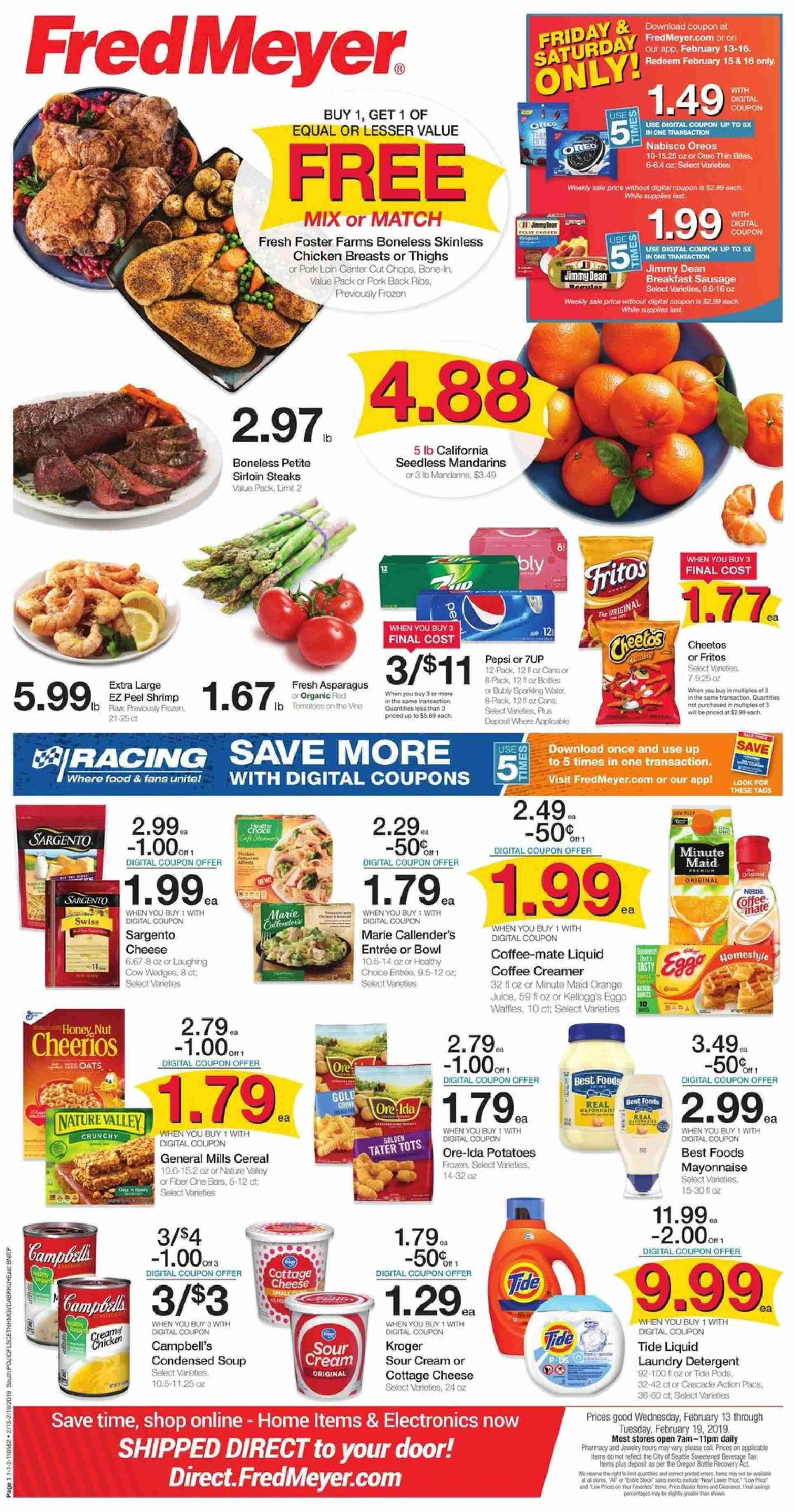 Fred Meyer Flyer  - 02.13.2019 - 02.19.2019. Page 1.