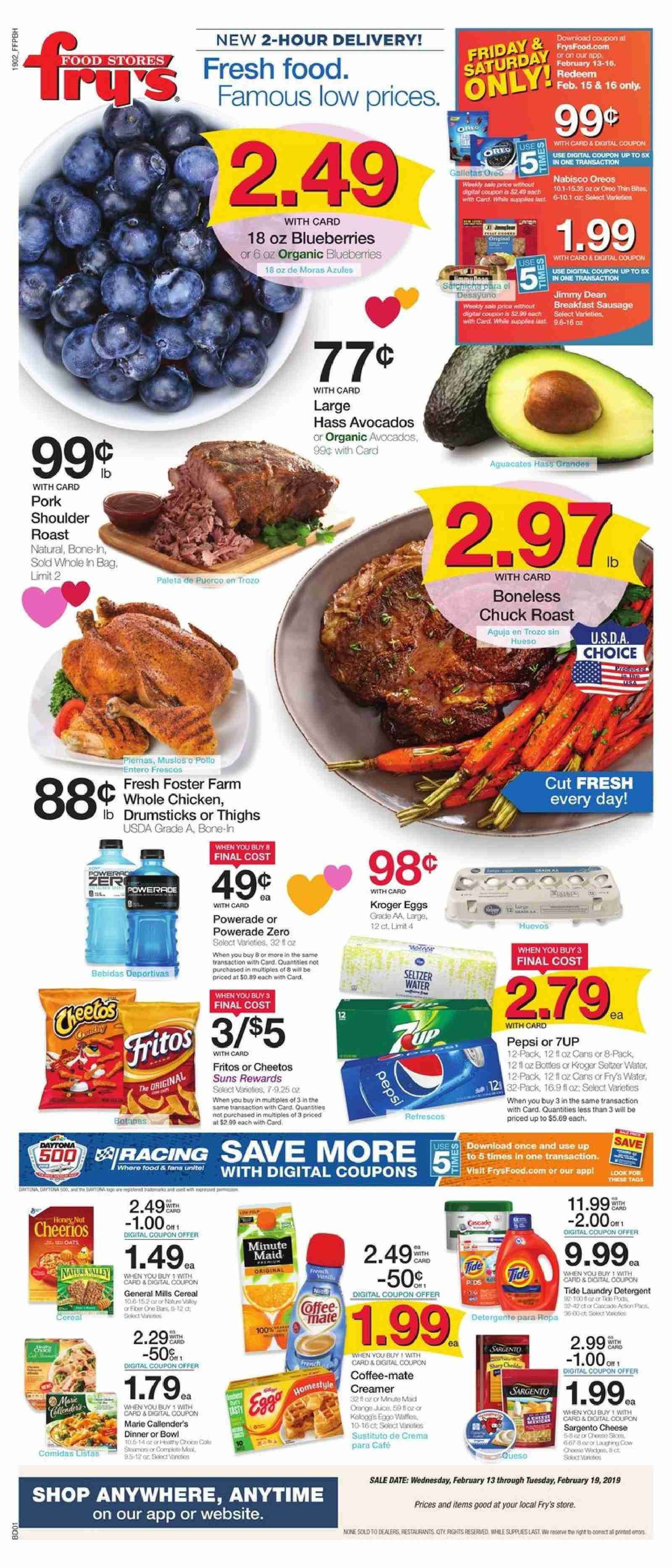 Fry's Flyer - 02.13.2019 - 02.19.2019 - Sales products - avocado, blueberries, Coffee-Mate, eggs, Cheetos, cereals, Fritos, Powerade, Pepsi, seltzer, water, whole chicken, chicken. Page 1.