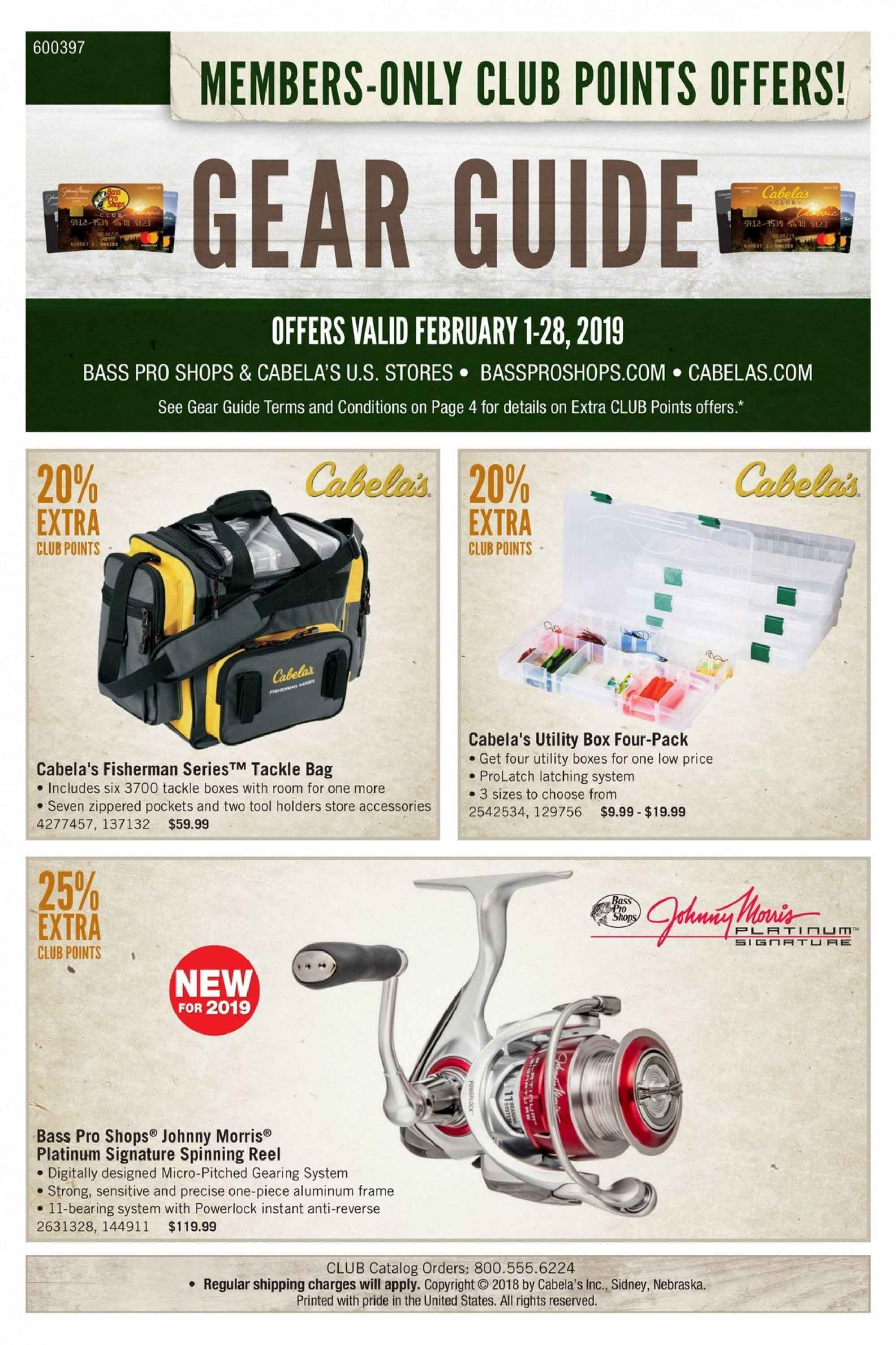 Cabela's Flyer  - 02.01.2019 - 02.28.2019. Page 1.