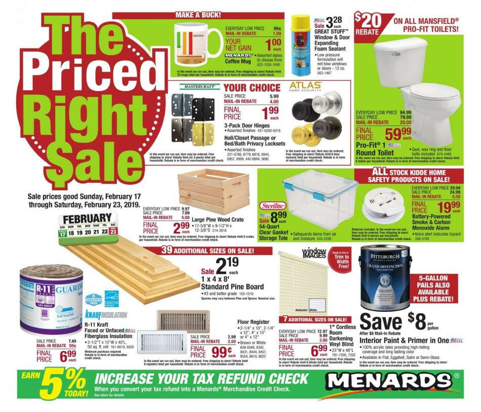 Menards Flyer 02 17 2019 02 23 2019 Weekly Ads Us