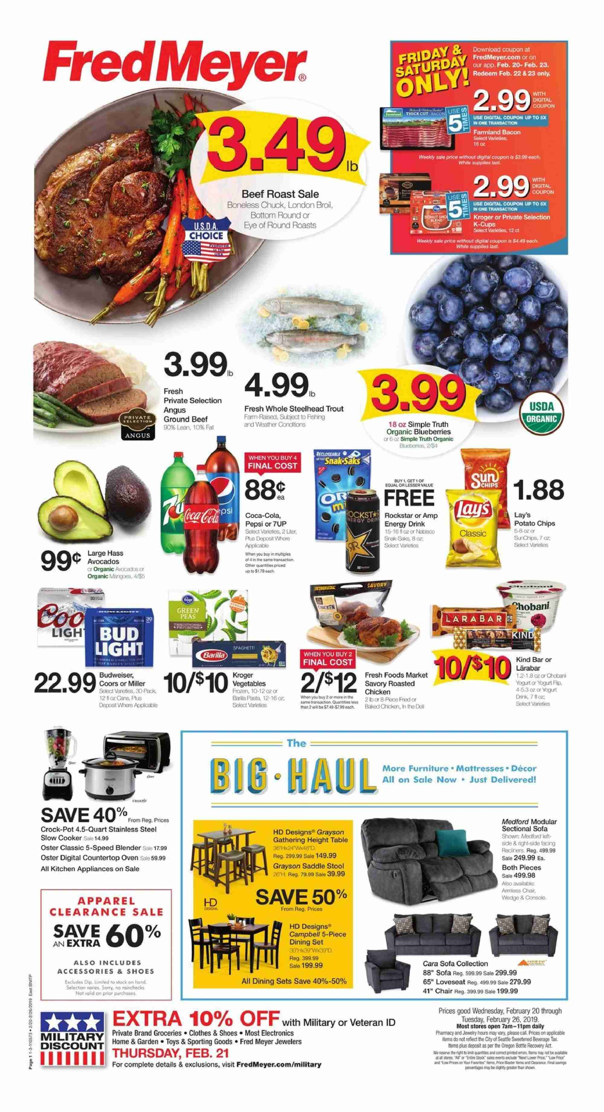 Fred Meyer Flyer  - 02.20.2019 - 02.26.2019. Page 1.