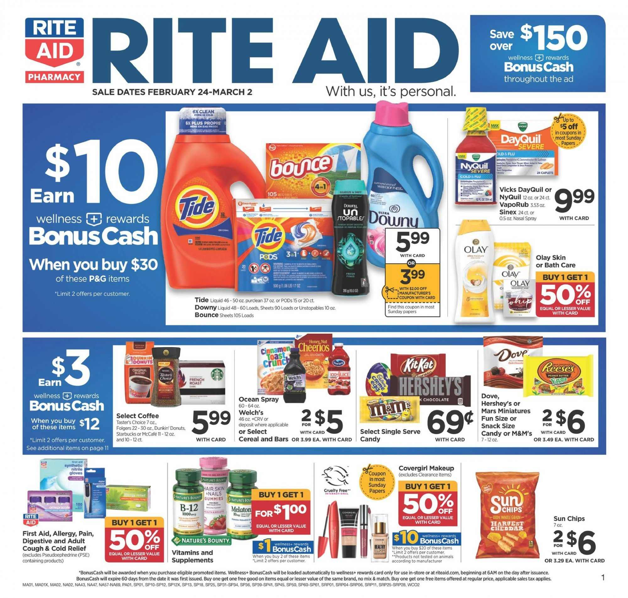 RITE AID Flyer - 02.24.2019 - 03.02.2019 - Sales products - bath, bounce, cereals, coffee, dates, dayquil, dove, downy, makeup, nature's bounty, spray, starbucks, tide, unstopables, nyquil, olay, chips, chocolate, candy, snack, donuts, cereal, bounty, mars, liquid. Page 1.