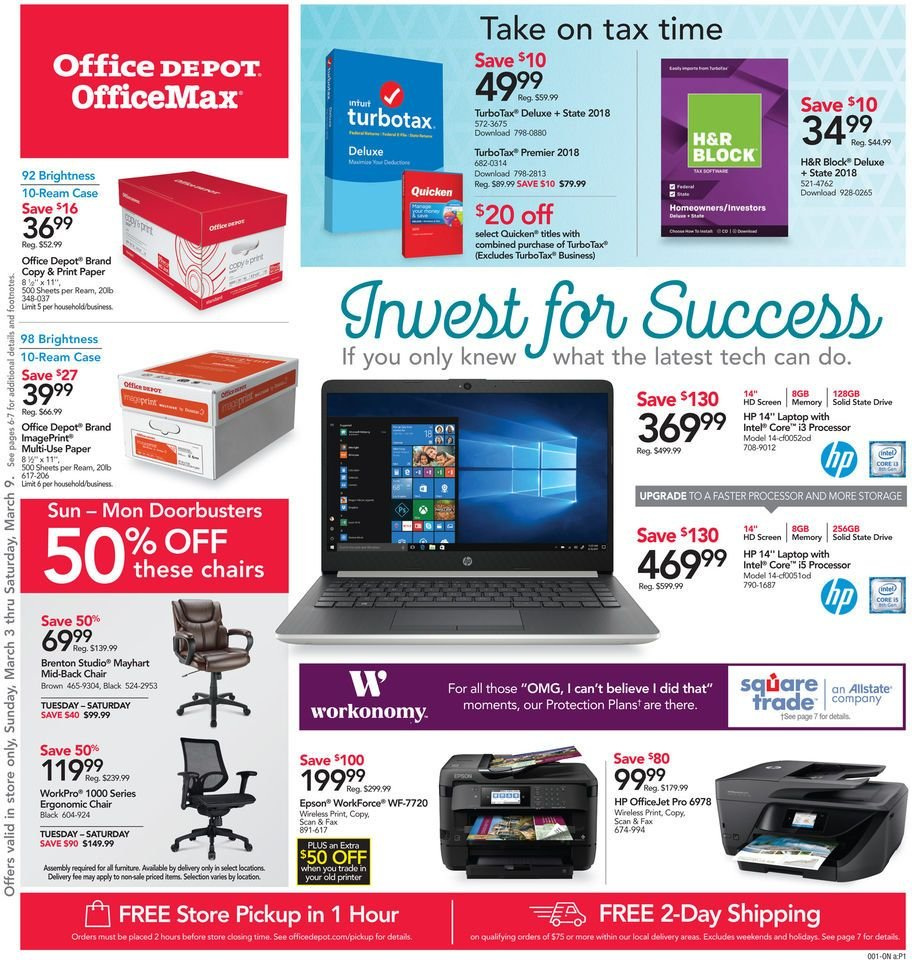 Office DEPOT Flyer - 03.03.2019 - 03.09.2019 - Sales products - HP, paper, laptop, Intel, Epson, HP OfficeJet. Page 1.