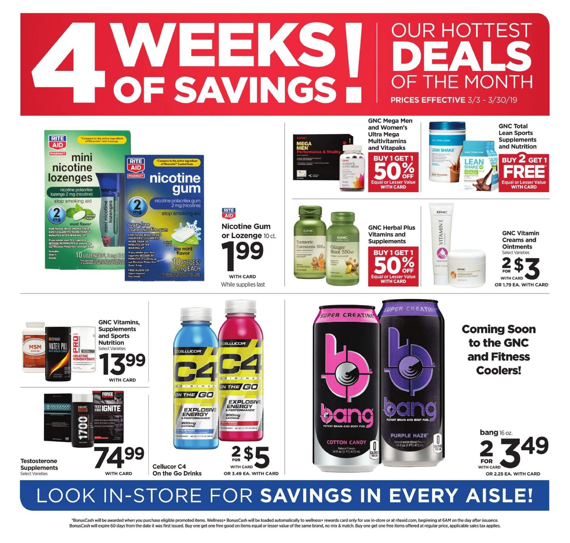 RITE AID Flyer - 03.03.2019 - 03.30.2019 - Sales products - candy, cotton candy, multivitamin, nicotine gum, vitamin c, multivitamins. Page 1.
