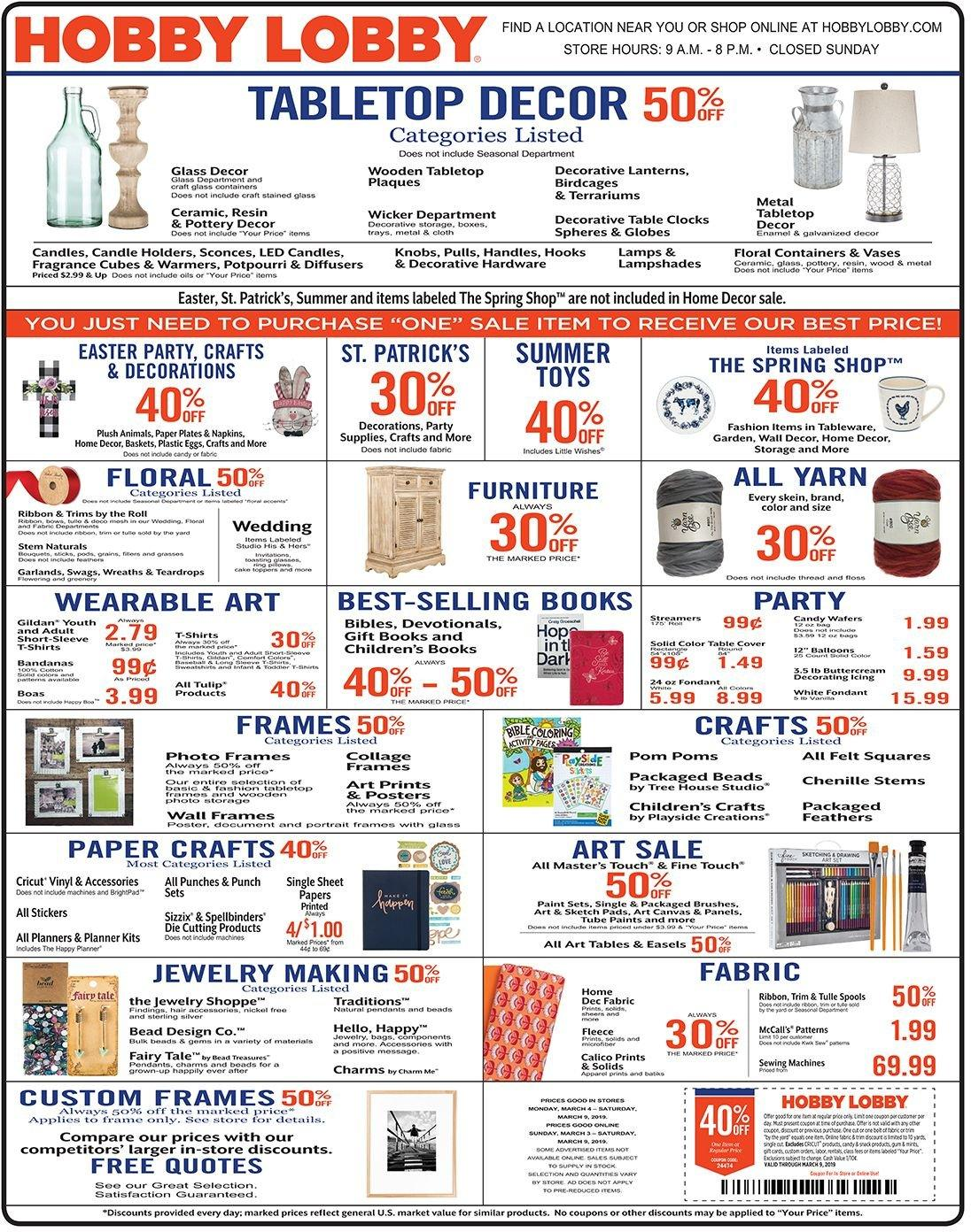 Hobby Lobby Flyer  - 03.03.2019 - 03.09.2019. Page 1.