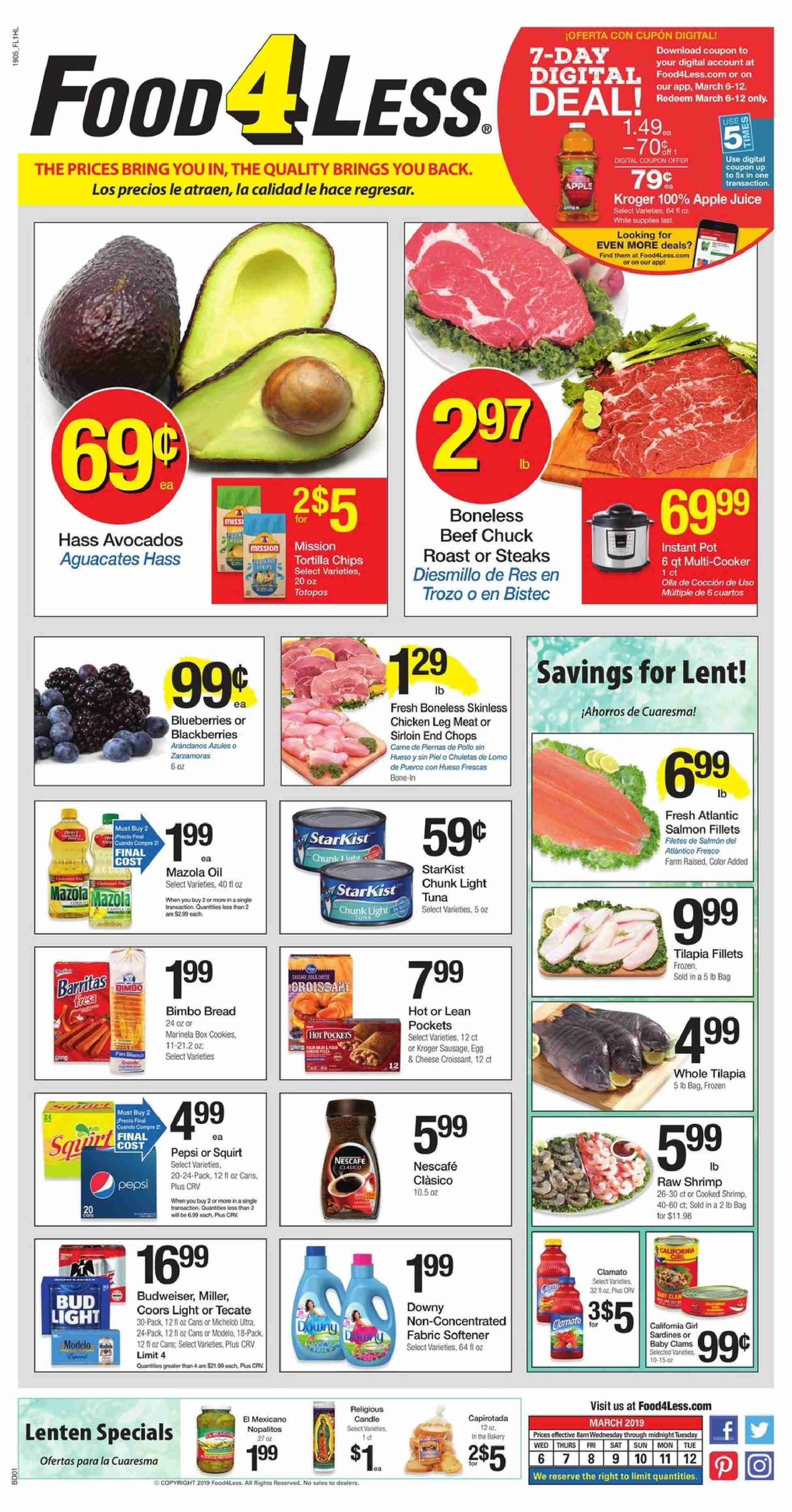 Food 4 Less Flyer - 03.06.2019 - 03.12.2019 - Sales products - Budweiser, Coors, Michelob, avocado, blackberries, blueberries, Apple, bread, clams, salmon, tilapia, tuna, shrimps, sausage, cheese, eggs, cookies, tortilla chips, chips, oil, apple juice, juice, Nescafé, chicken, beef meat, Downy, softener, pot, box, Frozen. Page 1.