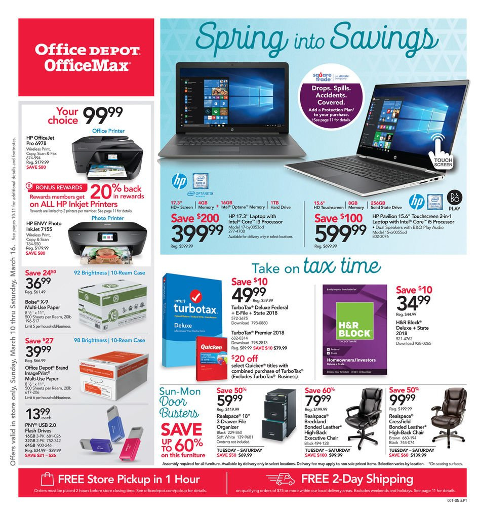 Office DEPOT Flyer  - 03.10.2019 - 03.16.2019. Page 1.