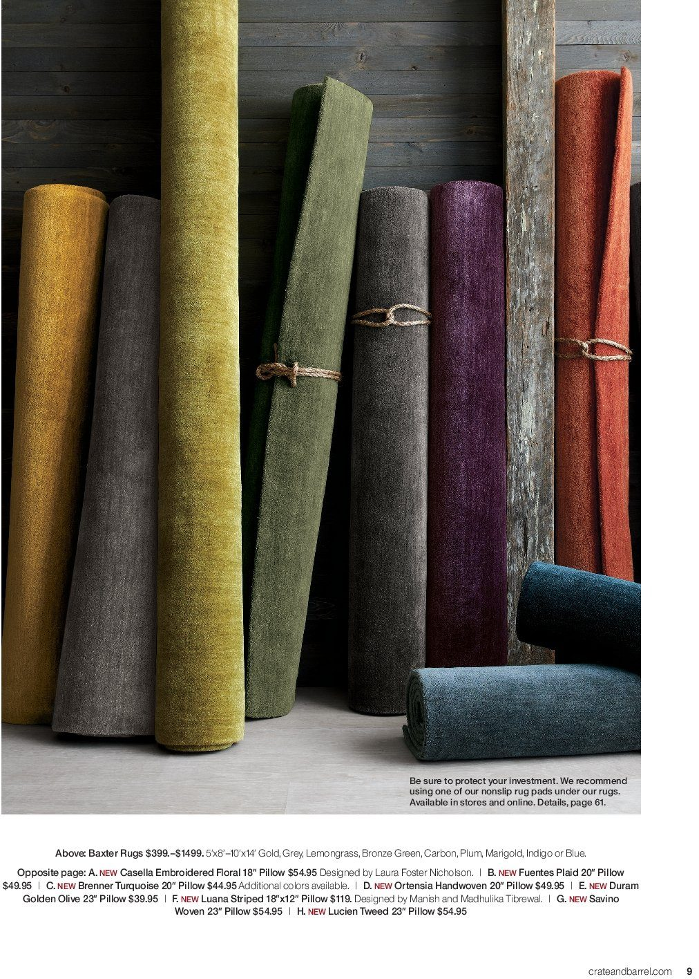 Crate & Barrel Flyer - 03.01.2019 - 03.31.2019 - Sales products - rug, pillow, pads. Page 9.