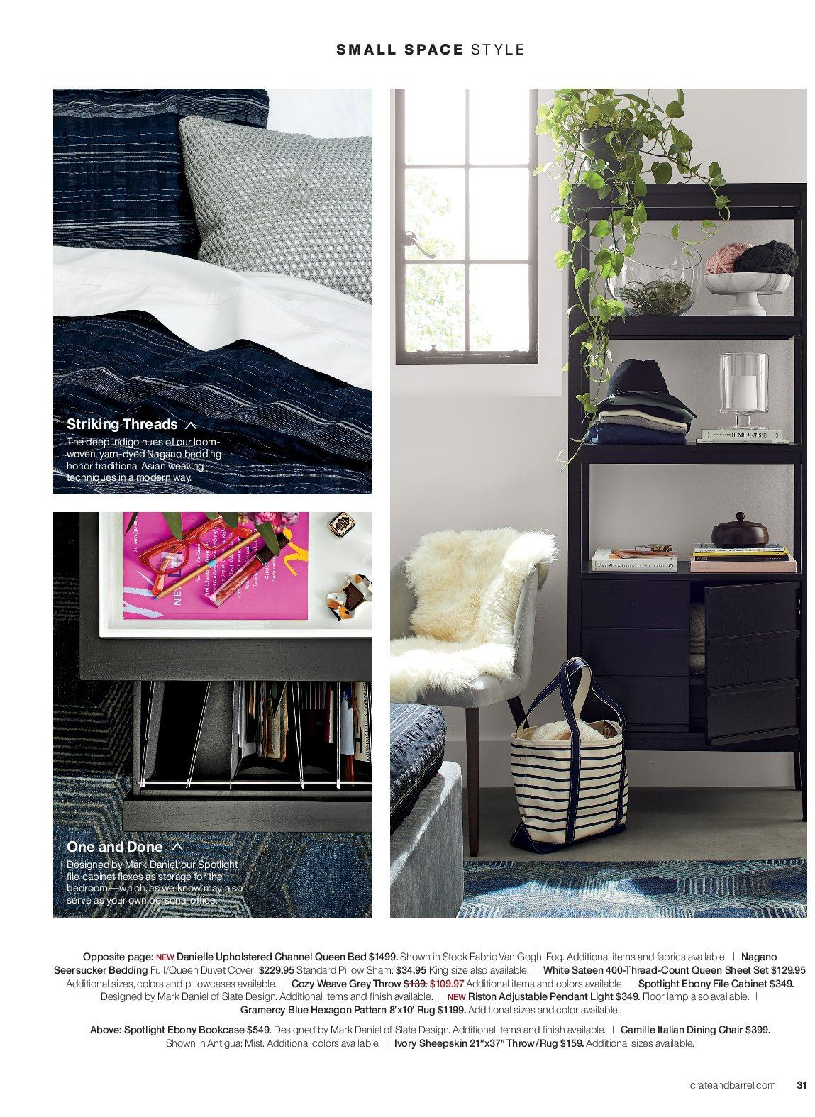 Crate & Barrel Flyer - 03.01.2019 - 03.31.2019 - Sales products - bed, bedding, bookcase, cabinet, duvet, duvet cover, lamp, rug, sateen, sham, sheet, sheet set, spotlight, throw, chair, channel, pillow, pillowcases, queen bed, pendant, thread. Page 31.