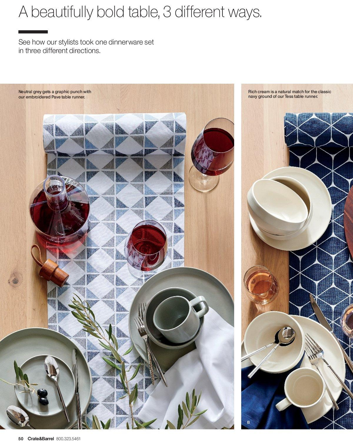 Crate & Barrel Flyer - 03.01.2019 - 03.31.2019 - Sales products - crate, dinnerware set, table, table runner, punch, dinnerware. Page 50.