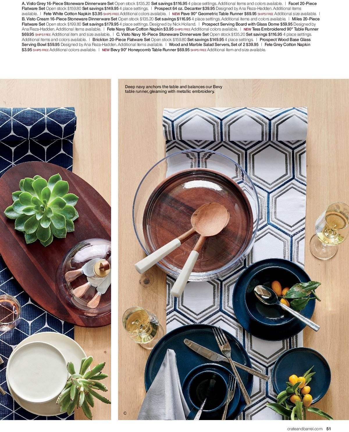 Crate & Barrel Flyer - 03.01.2019 - 03.31.2019 - Sales products - bowl, cotton, dinnerware set, flatware, flatware set, napkin, table, table runner, salad, board, dinnerware. Page 51.