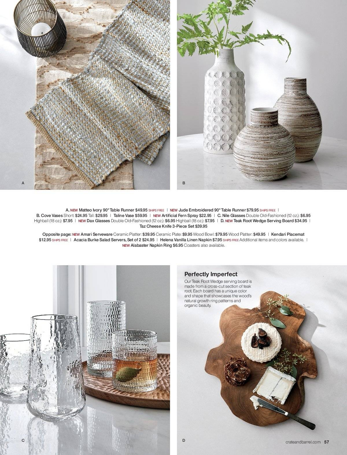 Crate & Barrel Flyer - 03.01.2019 - 03.31.2019 - Sales products - bowl, knife, napkin, spray, table, table runner, tea, plate, organic, cheese, salad, board, platter. Page 57.