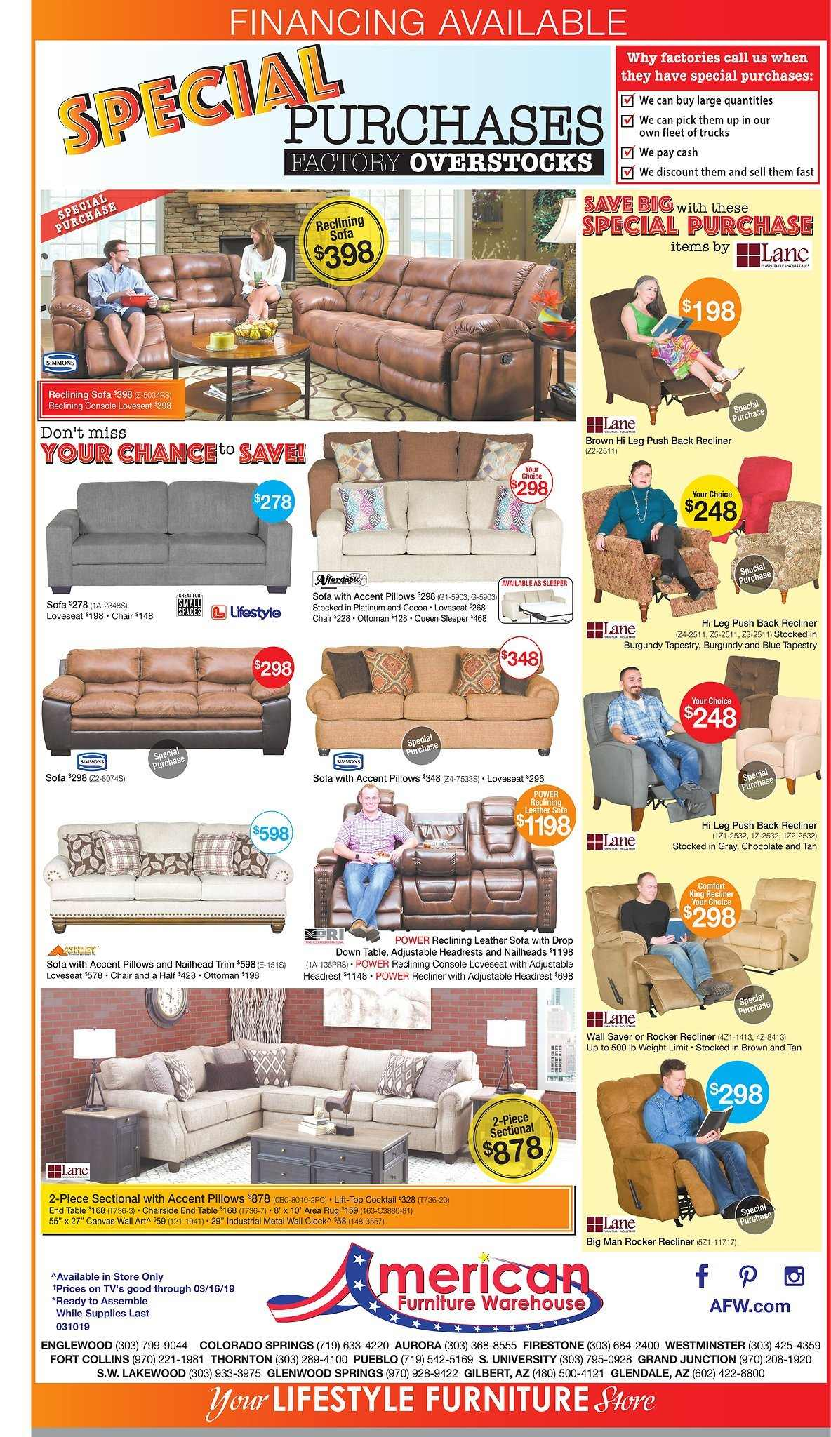 American Furniture Warehouse Flyer  - 03.10.2019 - 03.16.2019. Page 1.