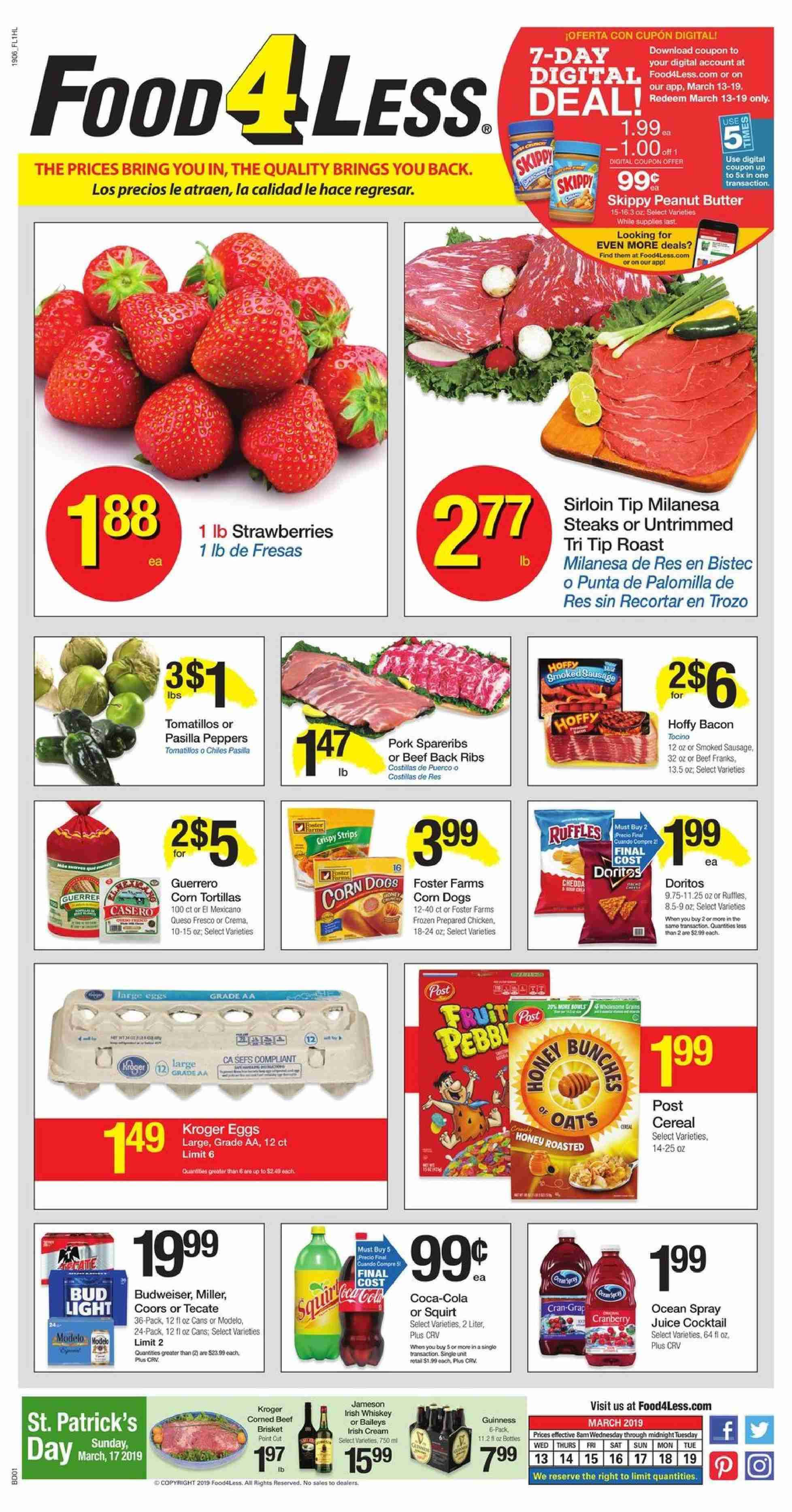 Food 4 Less Flyer  - 03.13.2019 - 03.19.2019. Page 1.