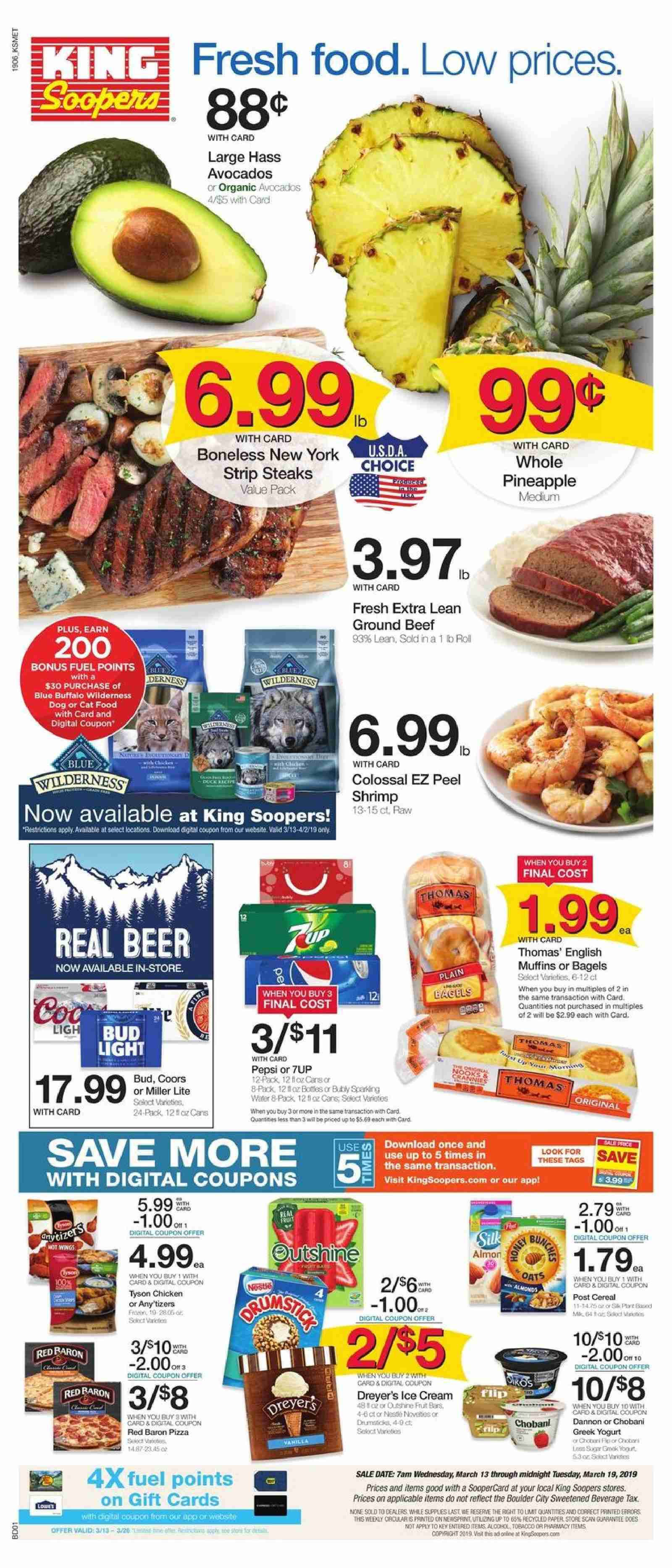 King Soopers Flyer  - 03.13.2019 - 03.19.2019. Page 1.