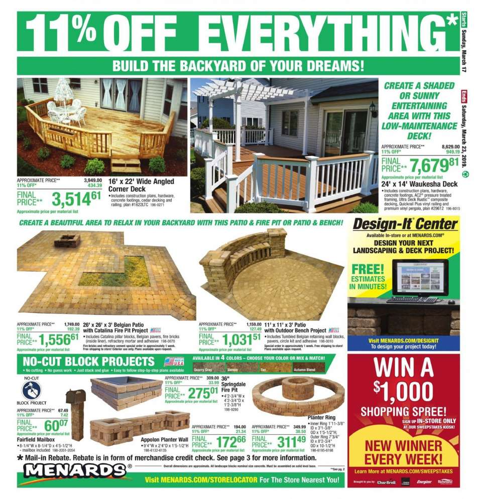Peachy Menards Flyer 03 17 2019 03 23 2019 Weekly Ads Us Pabps2019 Chair Design Images Pabps2019Com