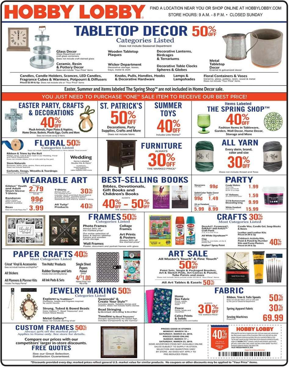 Hobby Lobby Flyer 03 17 2019 03 23 2019 Weekly Ads Us