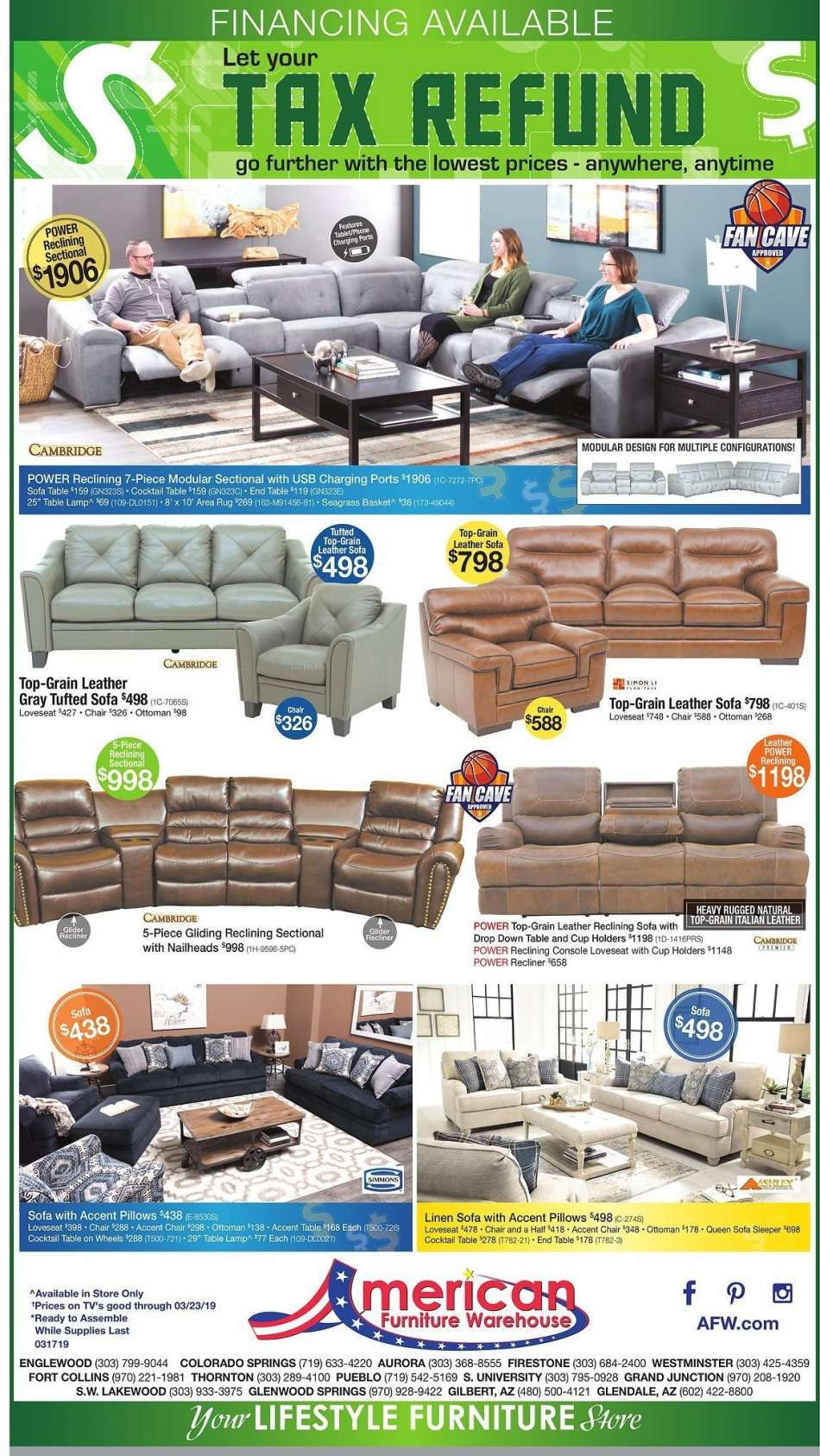 American Furniture Warehouse Flyer 03 17 2019 03 23 2019 Weekly