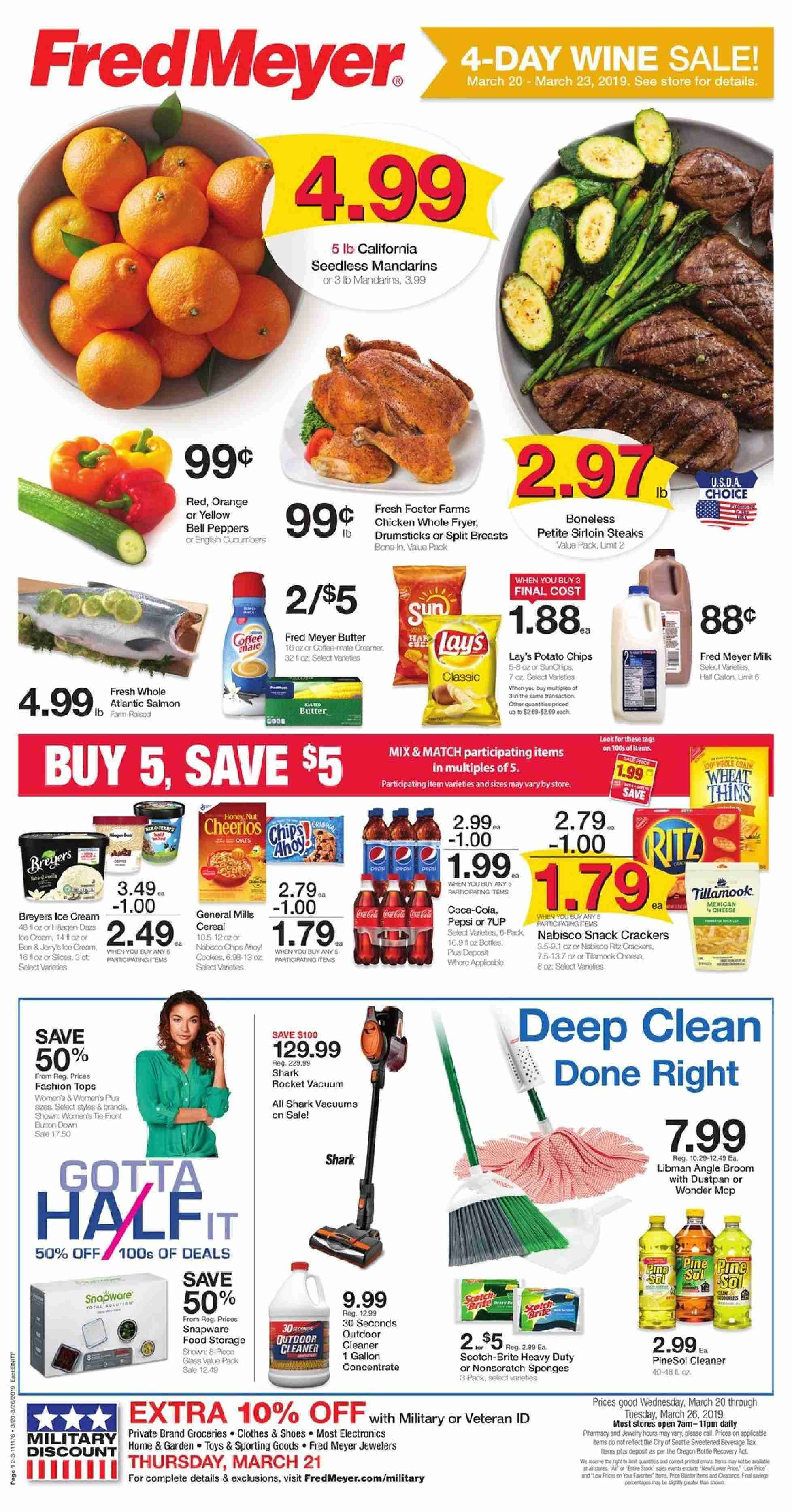Fred Meyer Flyer - 03.20.2019 - 03.26.2019 - Sales products - salmon, milk, butter, ice cream, cracker, crackers, potato chips, chips, snack, Lay's, Coca-Cola, wine, chicken, cleaner, sponge, glass, rocket, toys. Page 1.