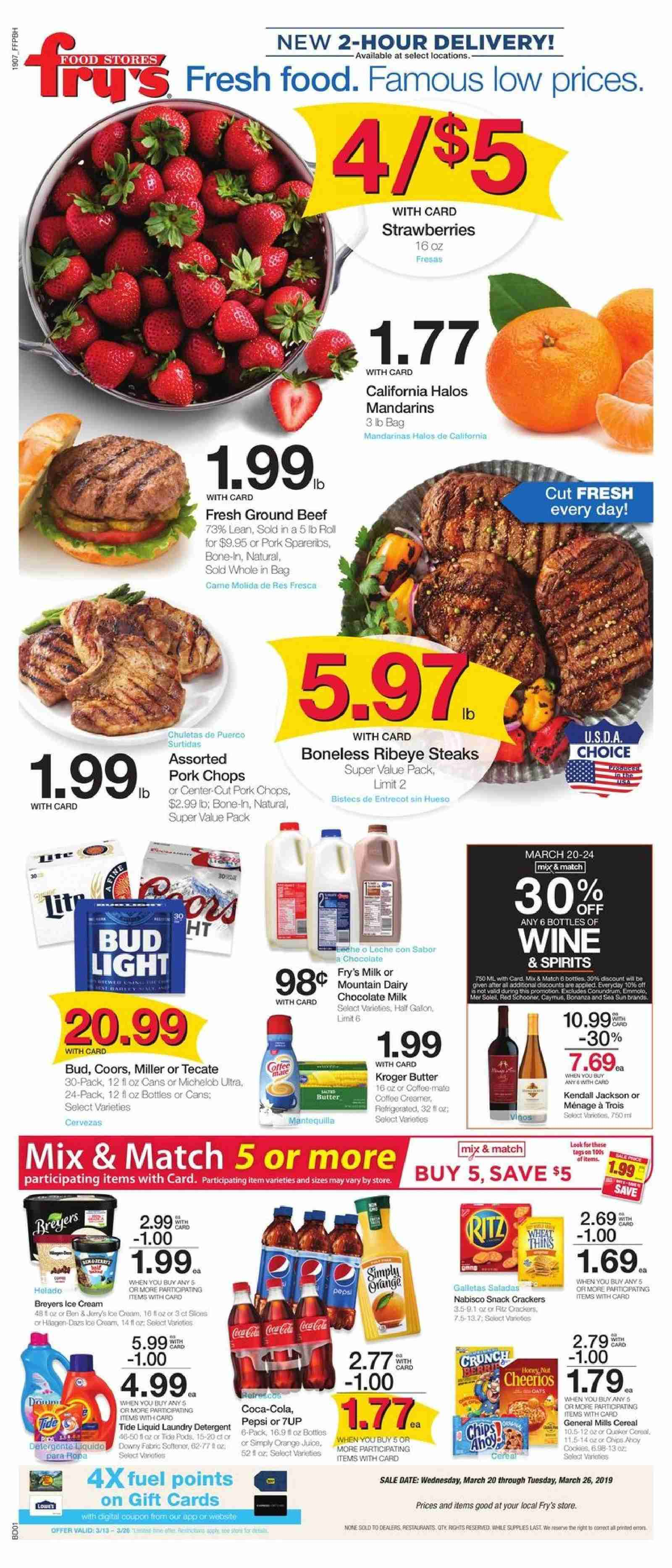 Fry's Flyer - 03.20.2019 - 03.26.2019 - Sales products - Bud Light, Coors, Michelob, strawberries, milk, chocolate milk, coffee creamer, butter, creamer, ice cream, cracker, crackers, chips, snack, cereals, Pepsi, juice, wine, beef meat, ground beef, pork chops, pork meat, detergent, Tide, laundry detergent. Page 1.